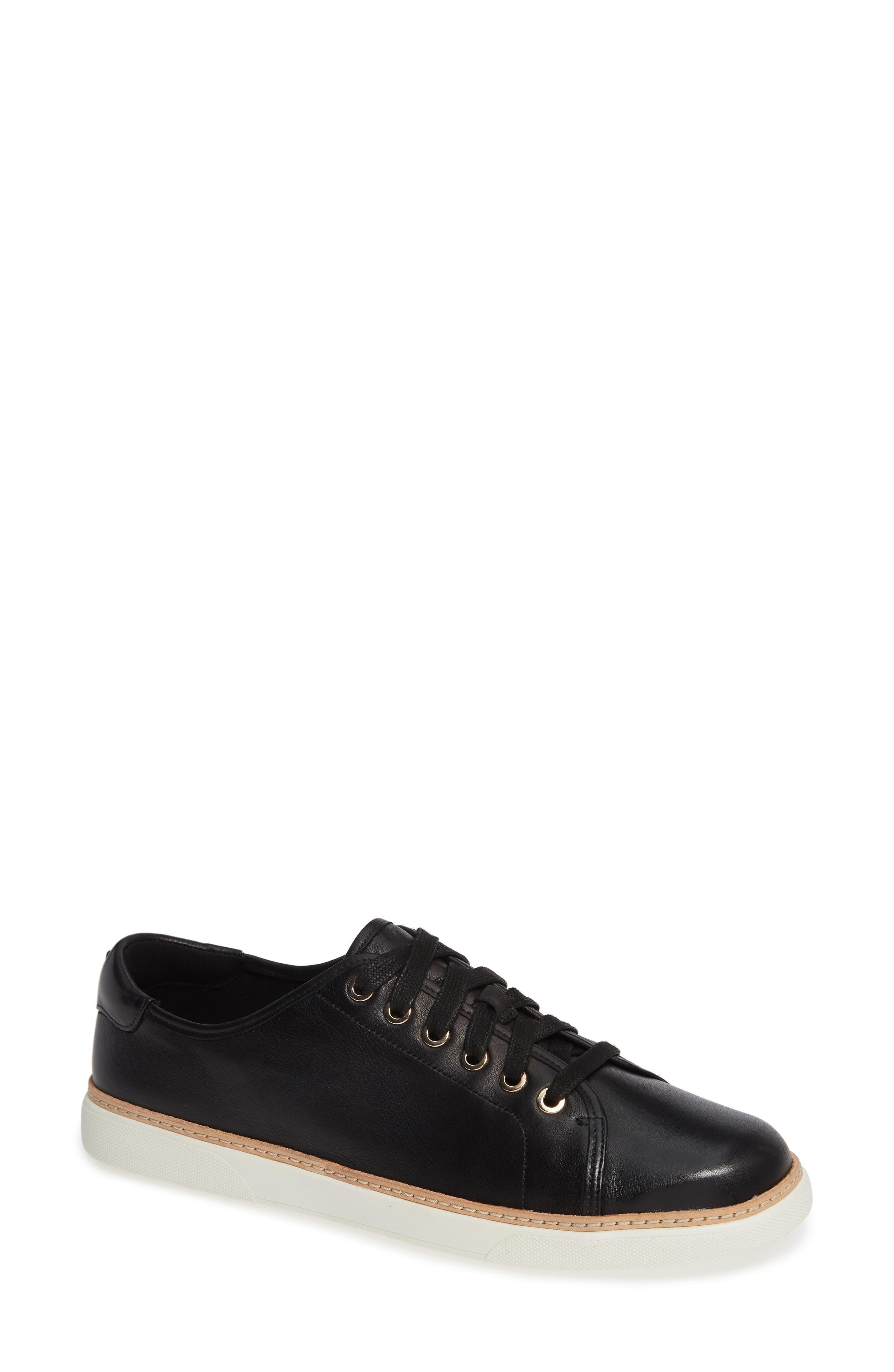 Leah Sneaker,                         Main,                         color, BLACK LEATHER