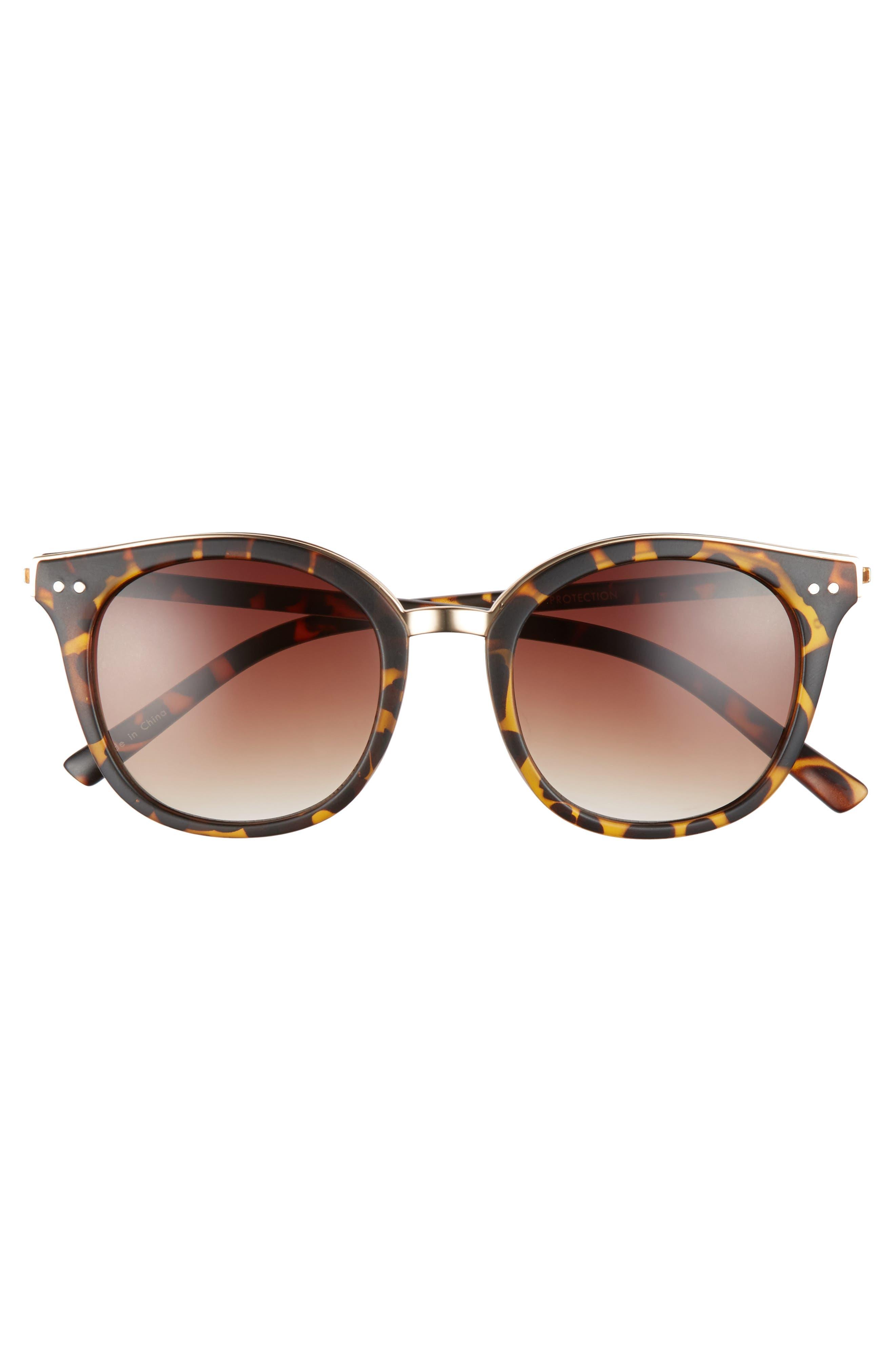 Metal Rim Round Sunglasses,                             Alternate thumbnail 3, color,                             200