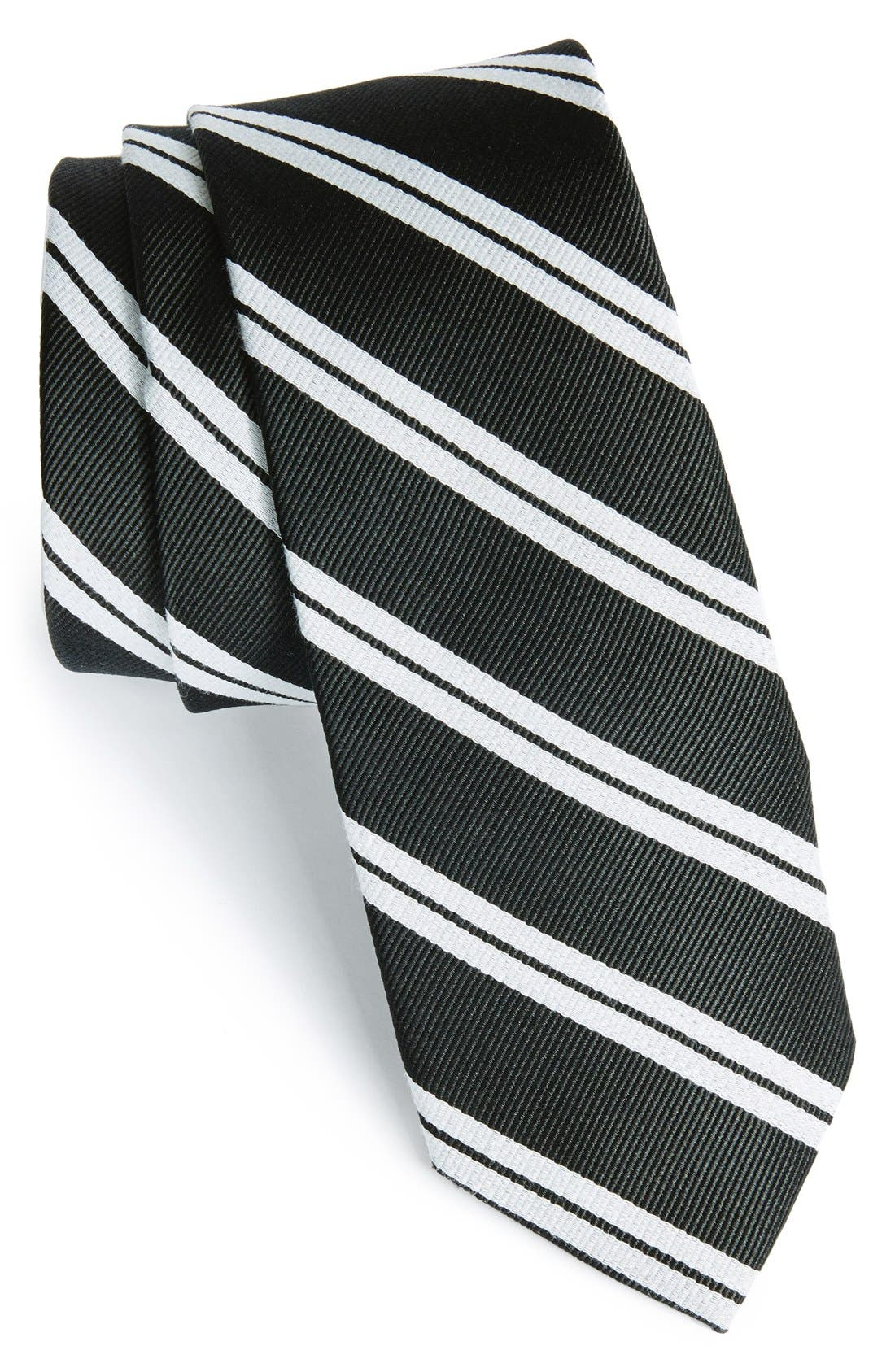 'Morrison Stripe' Woven Silk & Cotton Tie,                             Main thumbnail 1, color,                             001