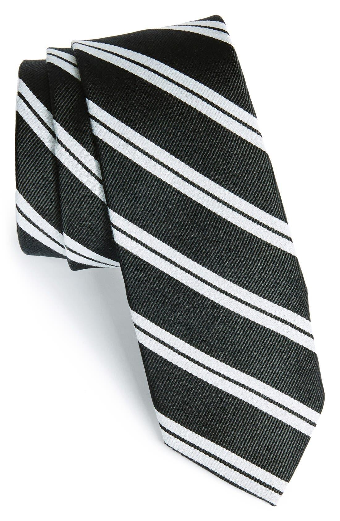 'Morrison Stripe' Woven Silk & Cotton Tie,                         Main,                         color, 001