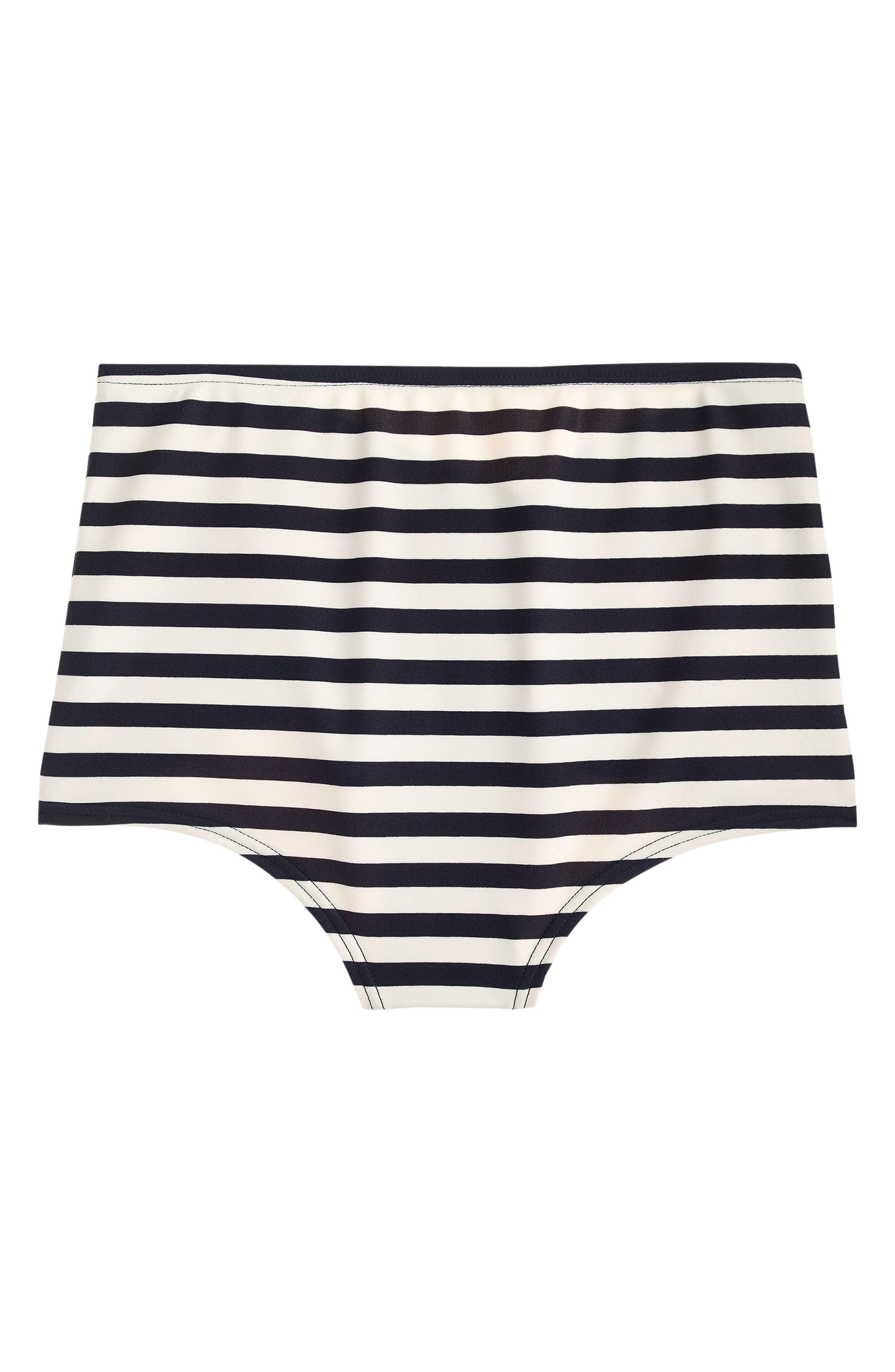 Stripe High Waist Bikini Bottoms,                             Alternate thumbnail 3, color,                             NAVY IVORY