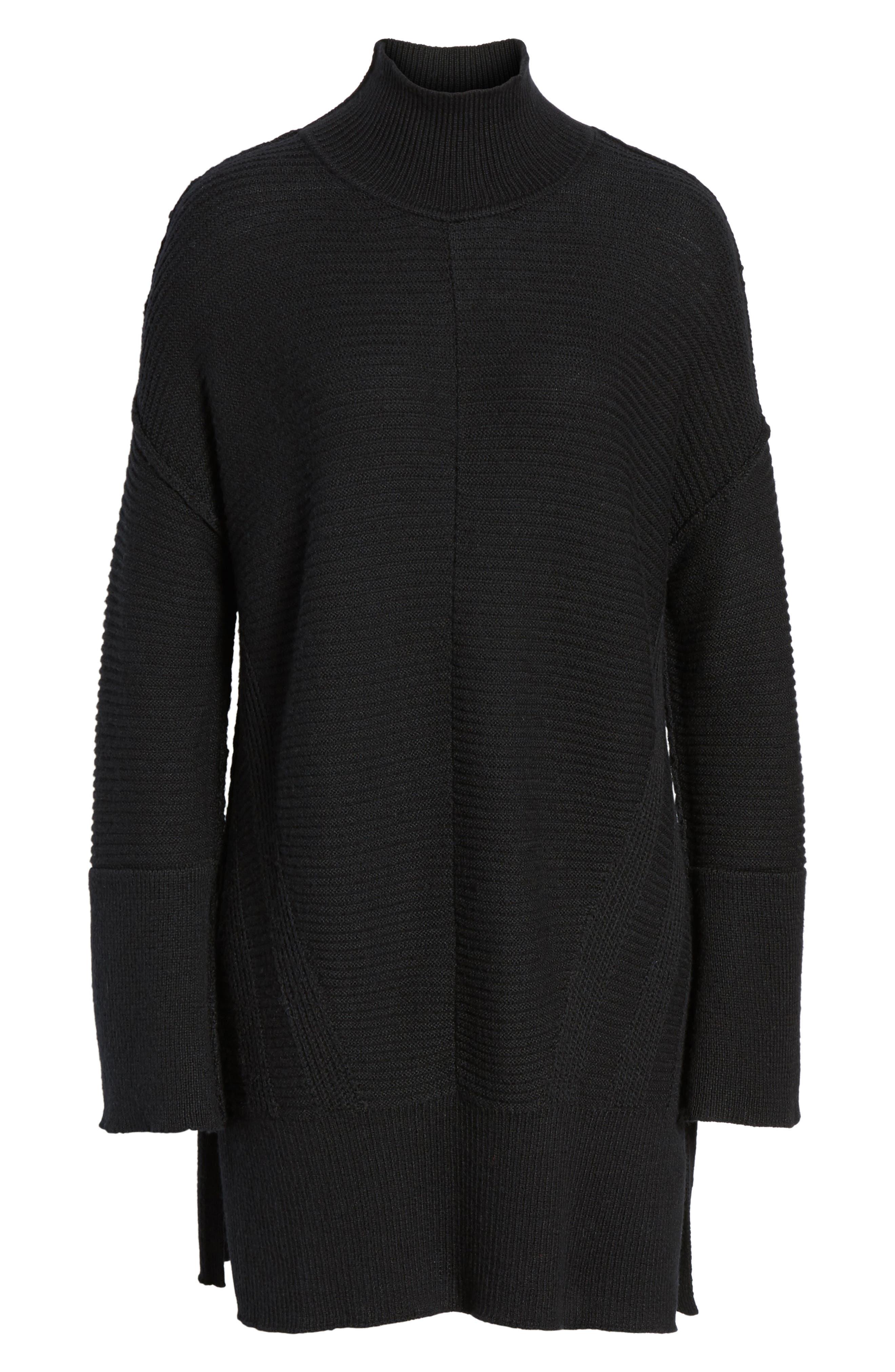 Ribbed Turtleneck Tunic Sweater,                             Alternate thumbnail 7, color,                             BLACK