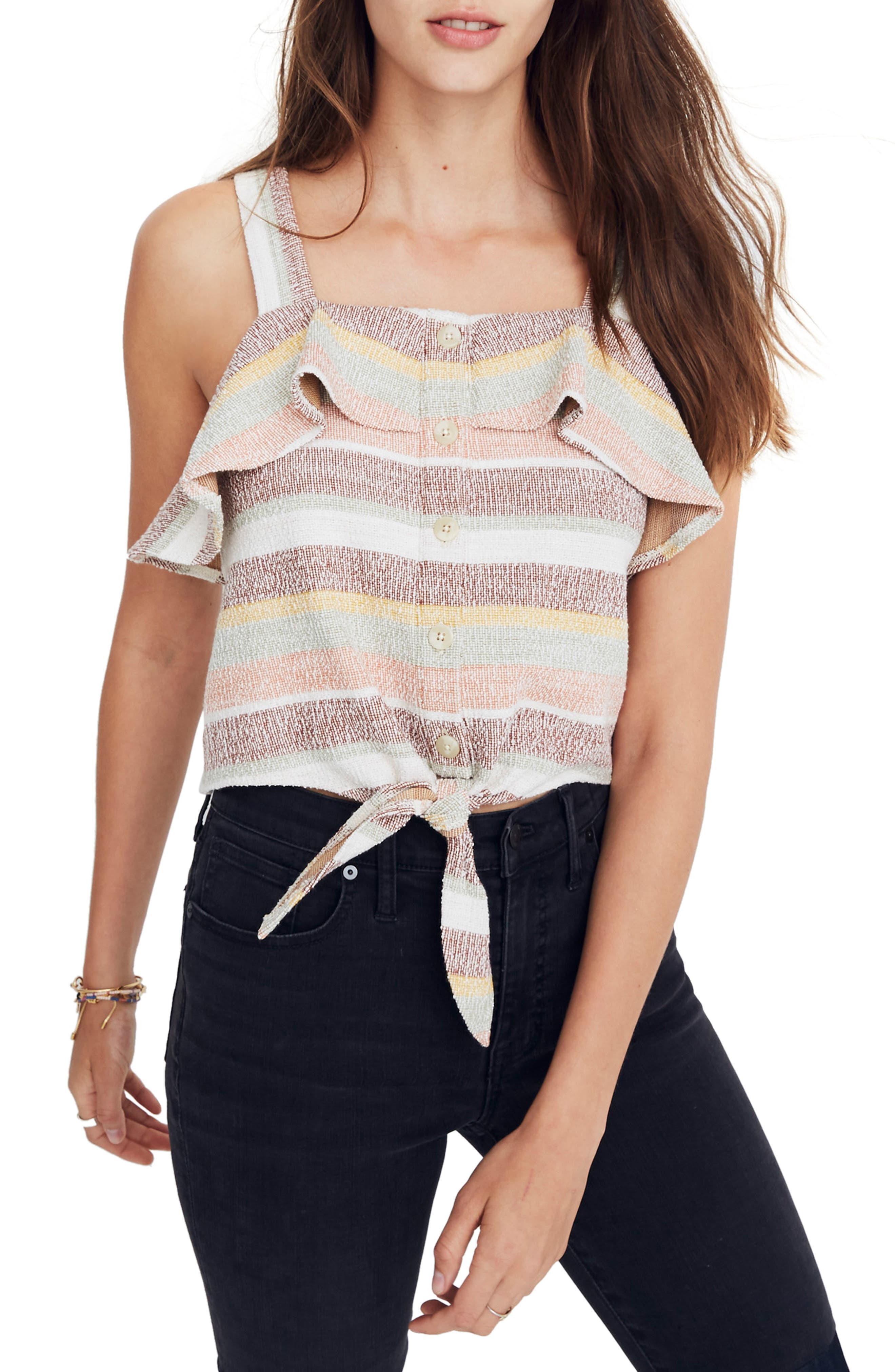 Texture & Thread Ruffle Tie Front Tank,                         Main,                         color, 200