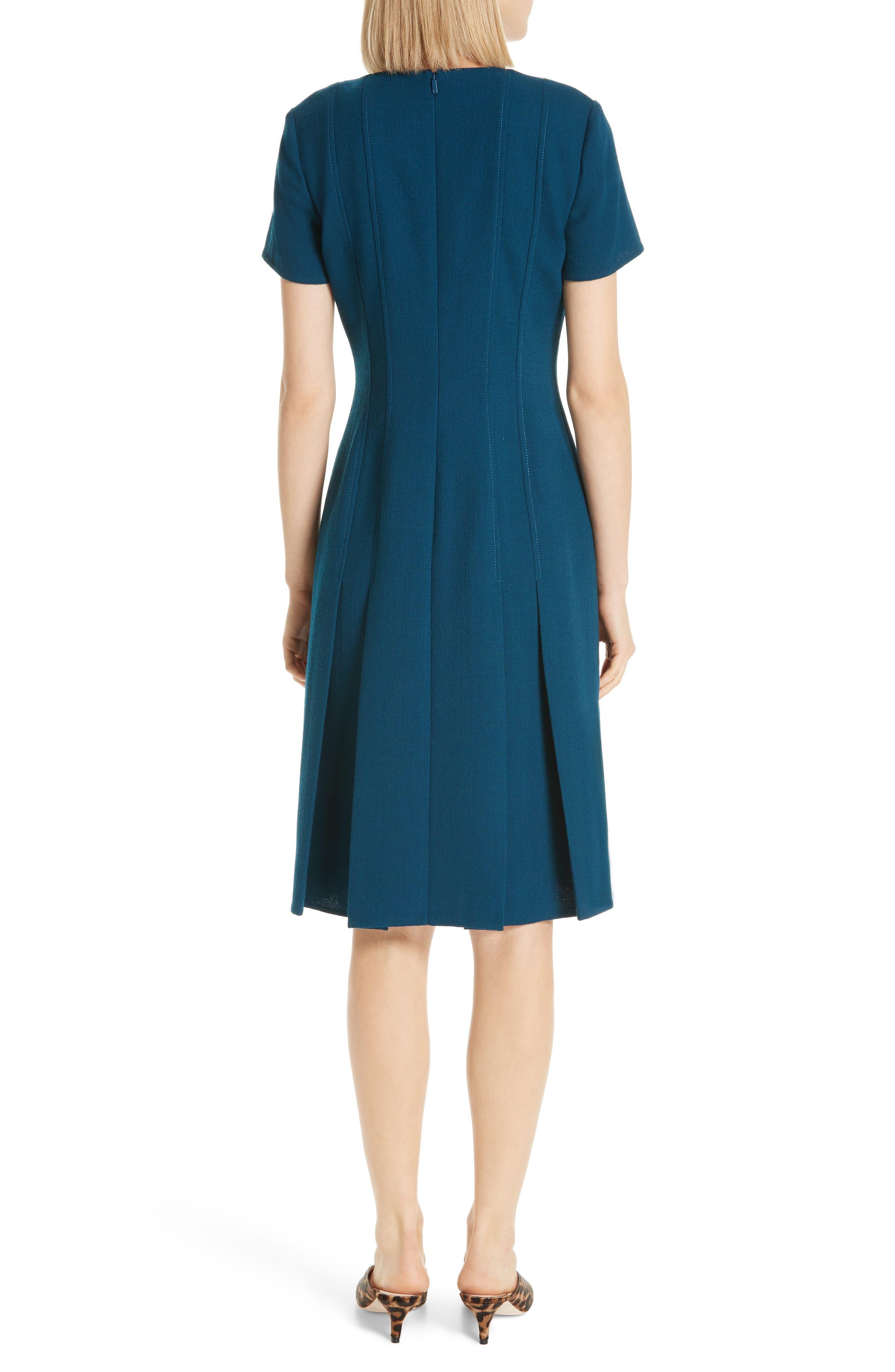Jannie Pleated Hem Dress,                             Alternate thumbnail 2, color,                             EMPRESS TEAL