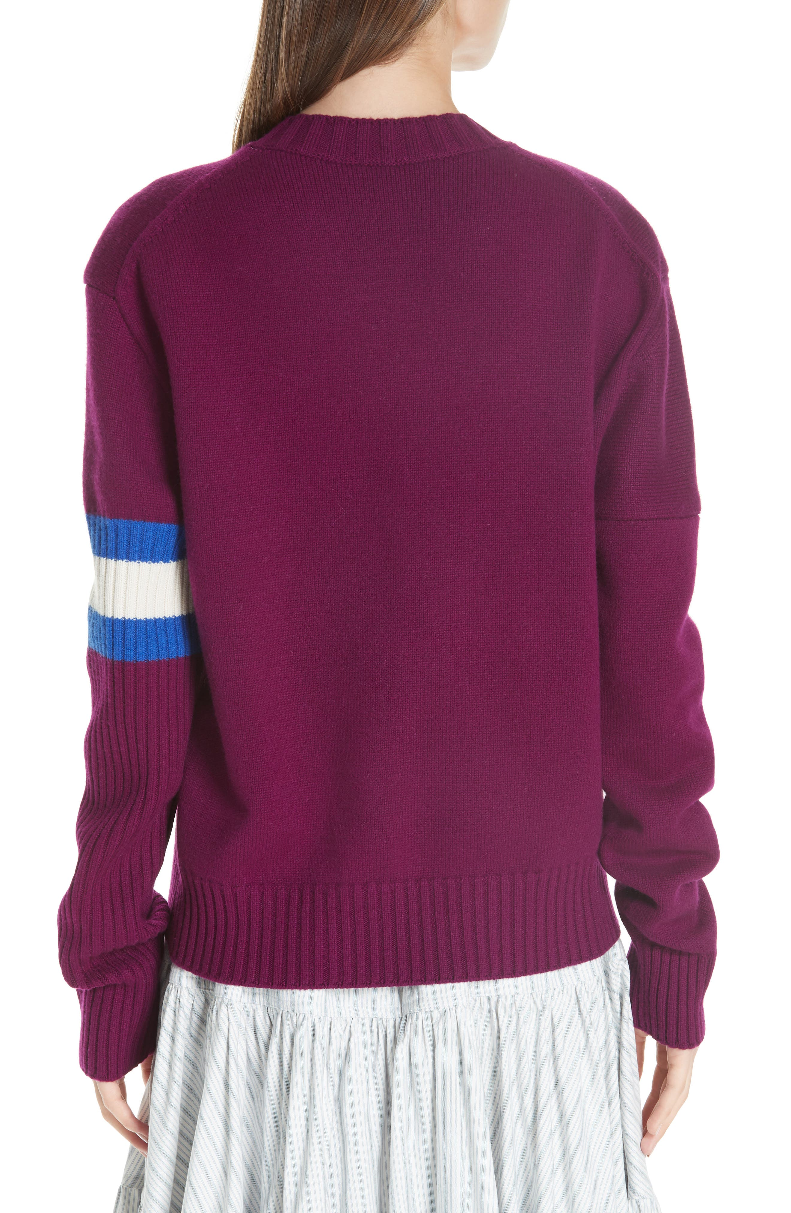 Cashmere Stripe Sleeve Sweater,                             Alternate thumbnail 2, color,                             DEEP PURPLE BRIGHT BLUE WHITE