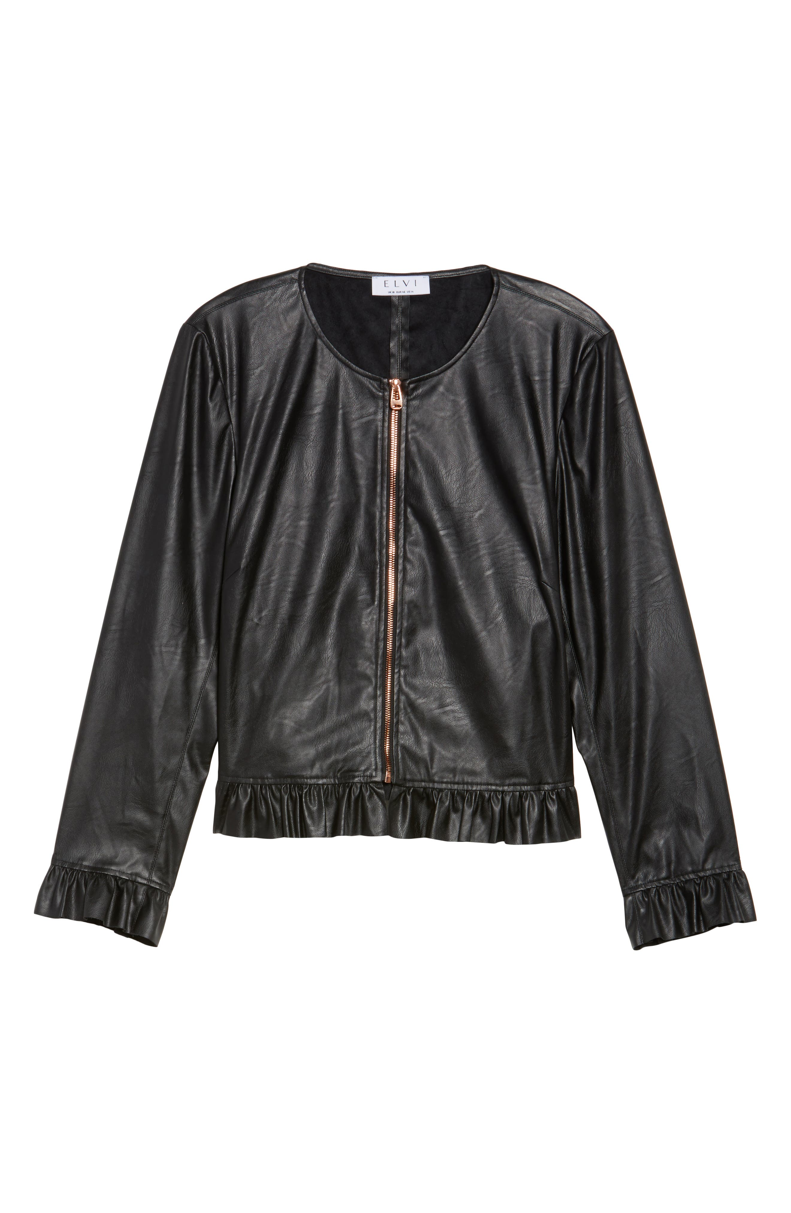 Faux Leather Frill Jacket,                             Alternate thumbnail 5, color,                             001