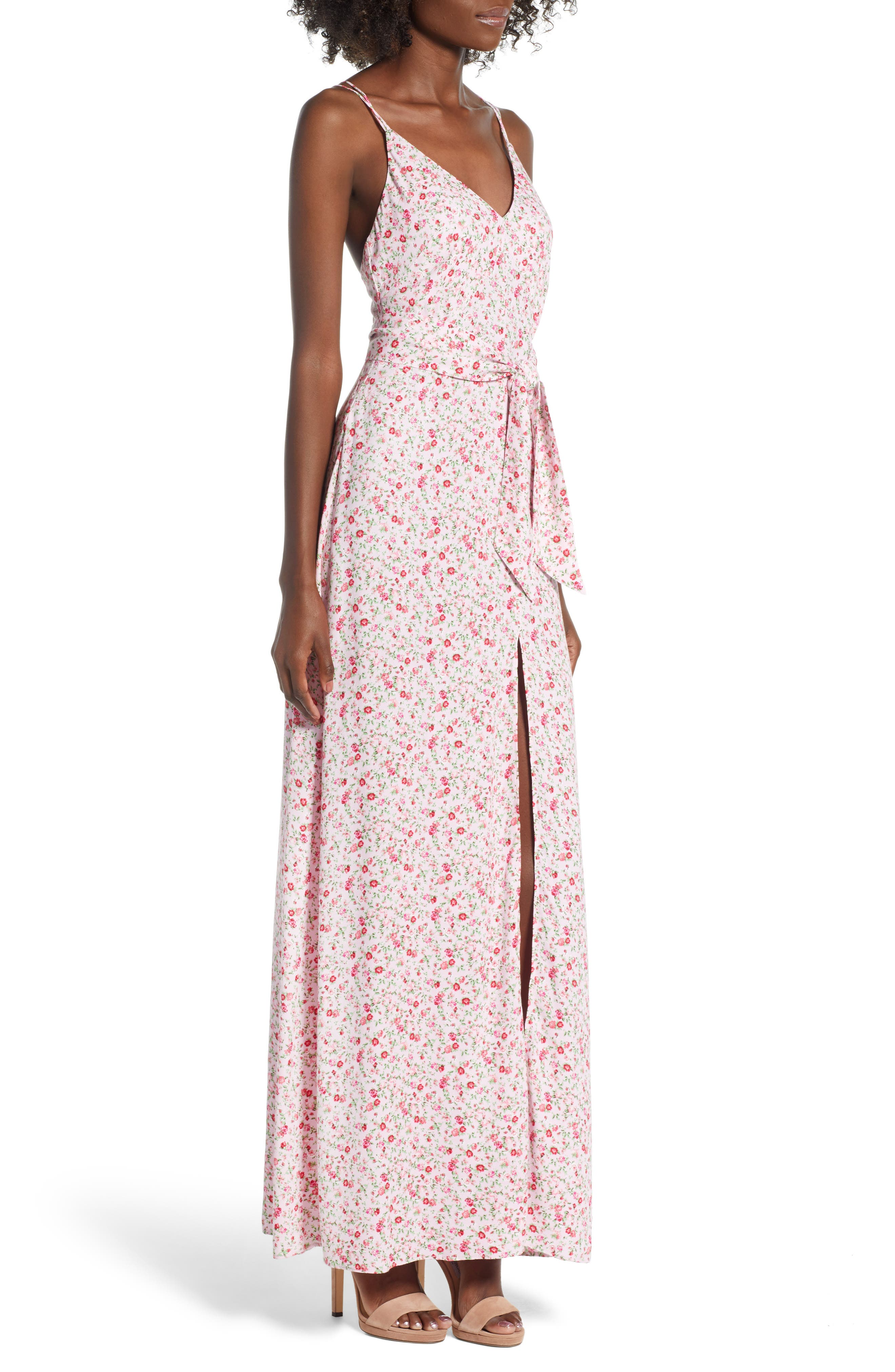 Diego Maxi Dress,                             Alternate thumbnail 3, color,                             BABY PINK DITSY