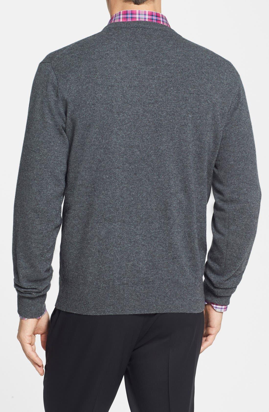 Cashmere V-Neck Sweater,                             Alternate thumbnail 2, color,                             022