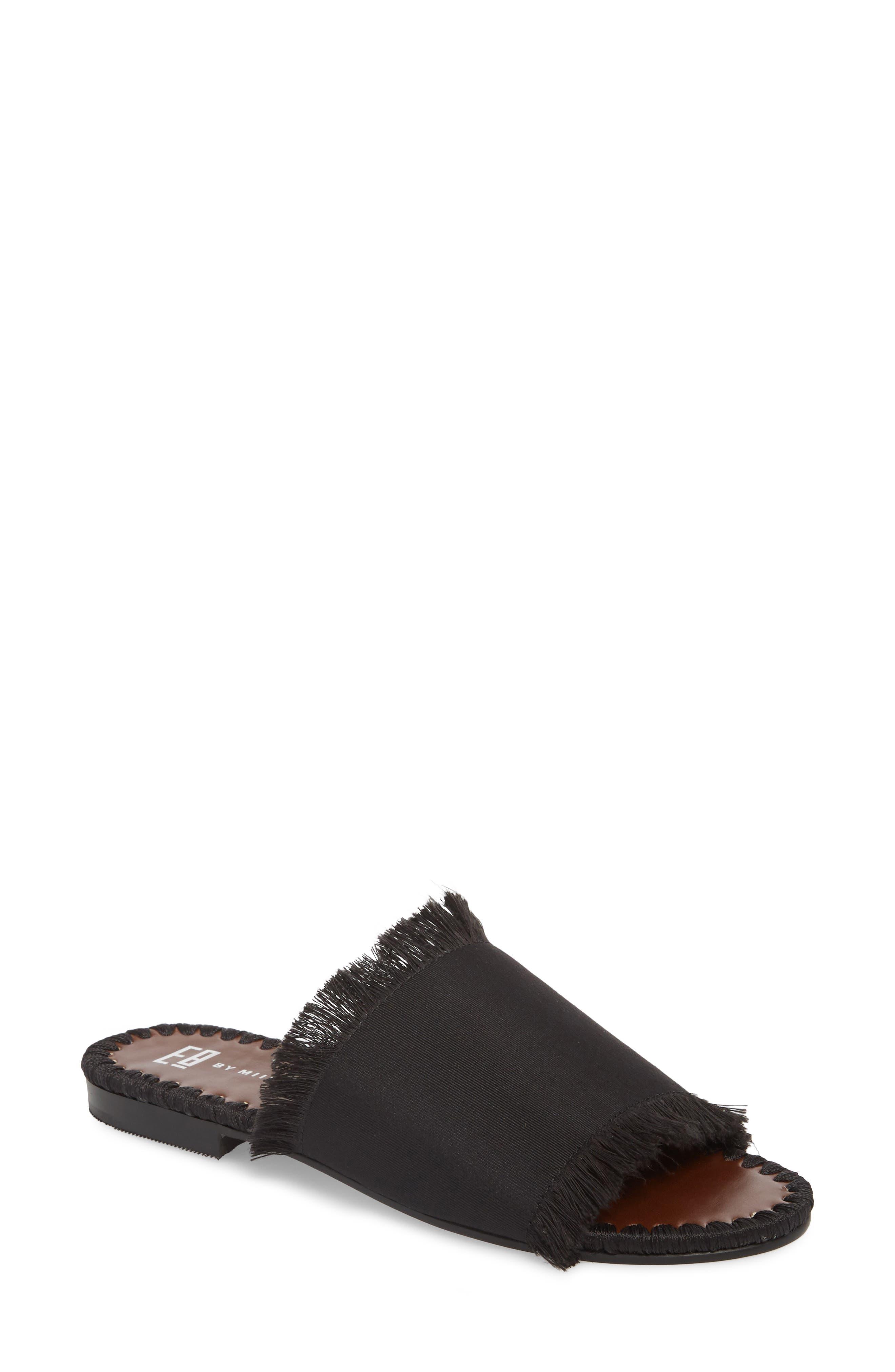 Tavie Fringed Slide Sandal,                         Main,                         color, BLACK FABRIC