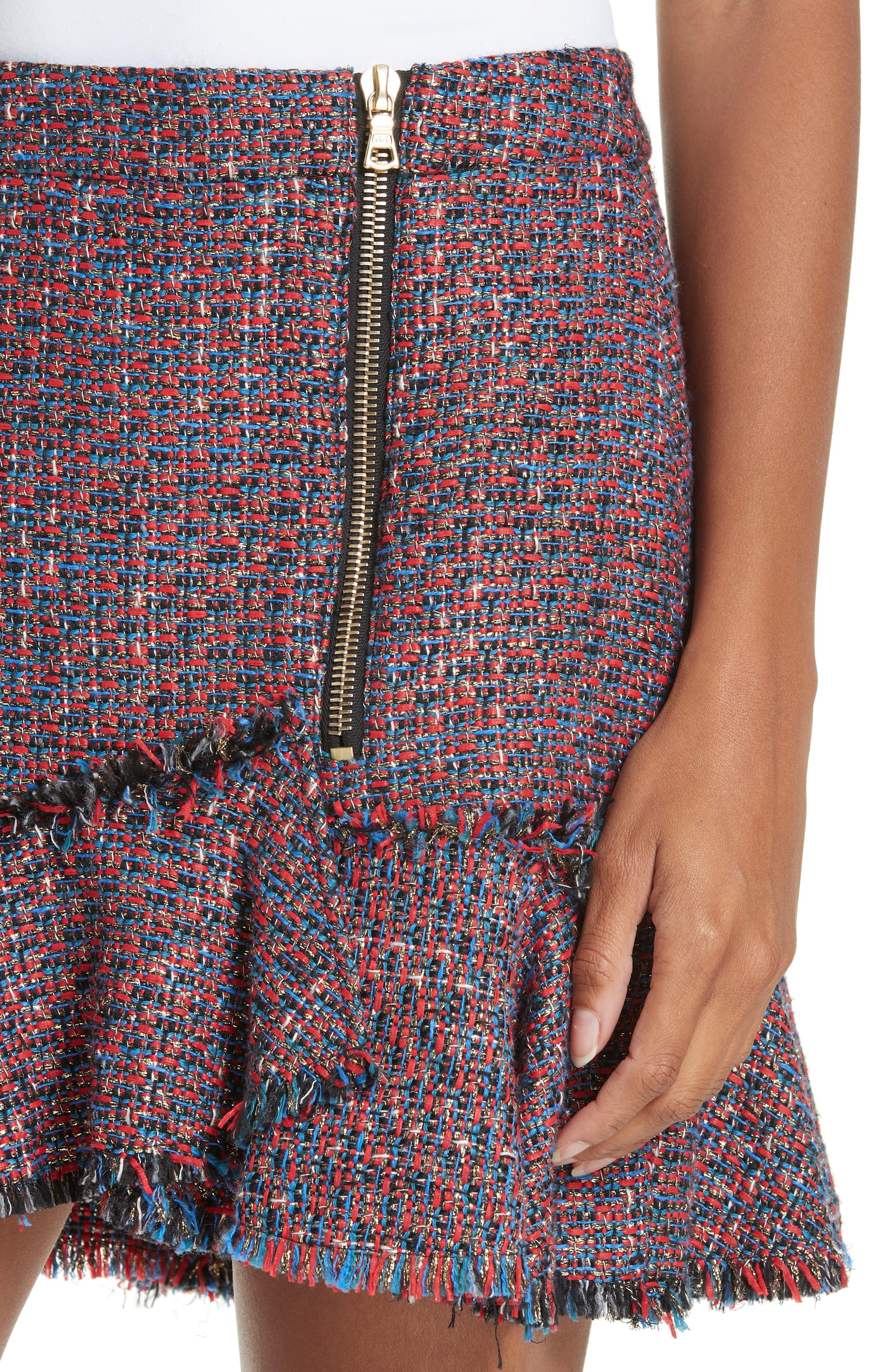 Madra Tweed Skirt,                             Alternate thumbnail 4, color,                             RED MULTI