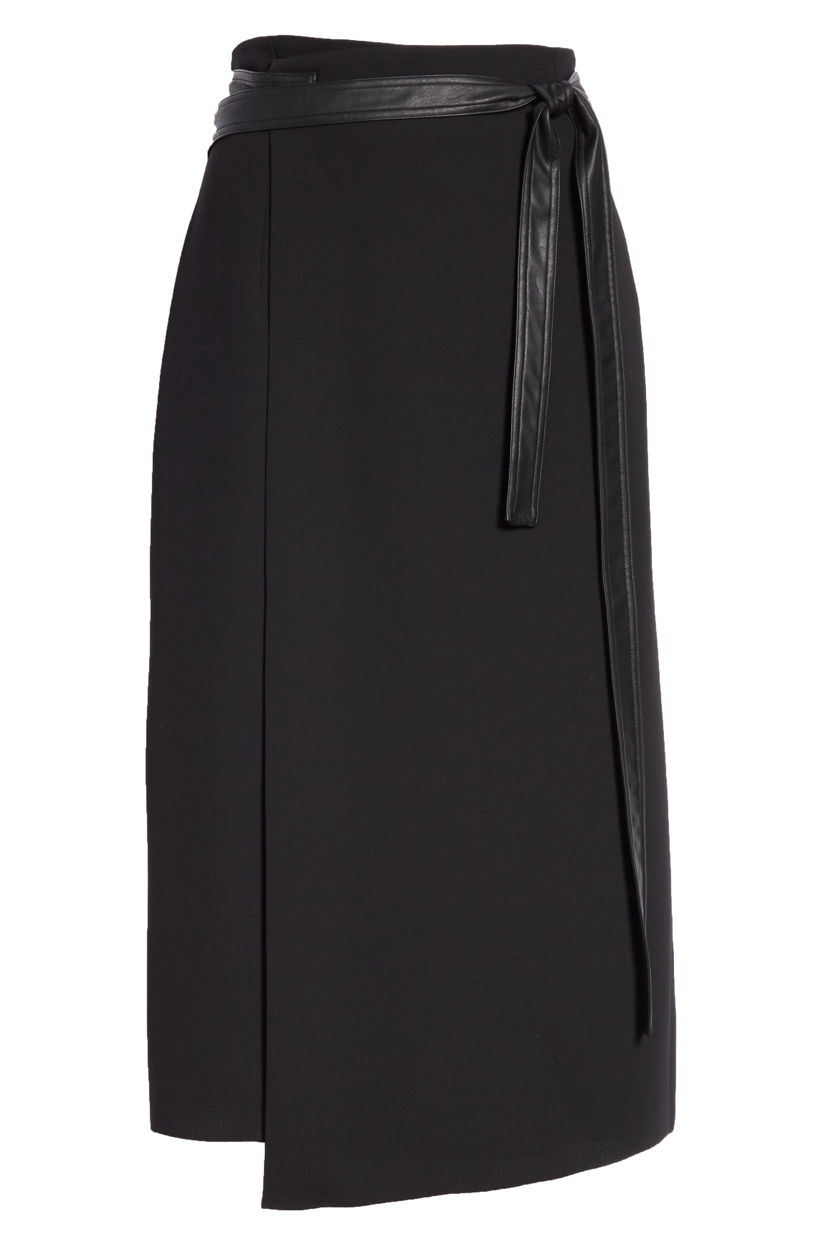 Belted Wrap Skirt,                             Alternate thumbnail 6, color,                             BLACK