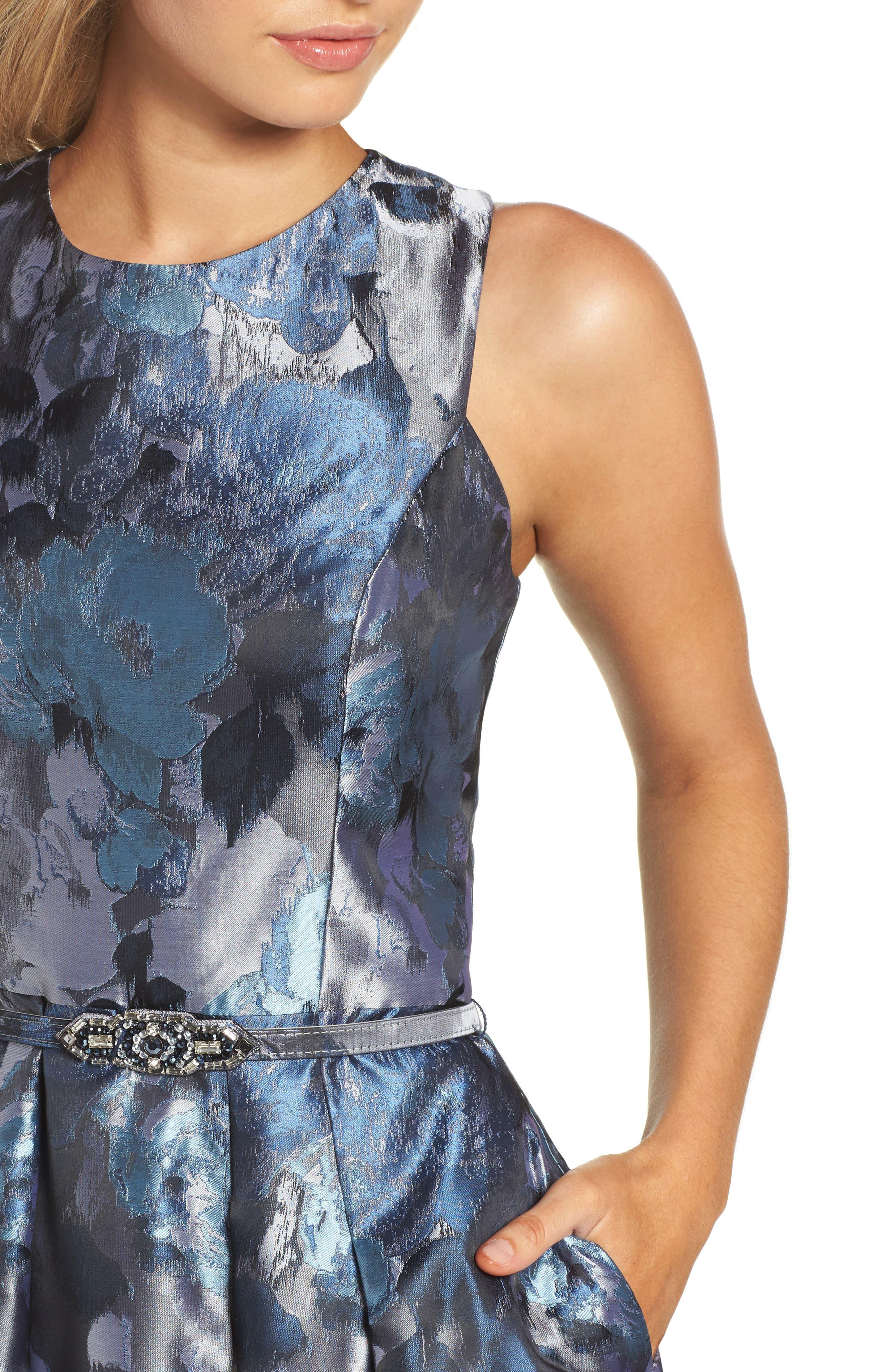 Jacquard High/Low Dress,                             Alternate thumbnail 4, color,                             419