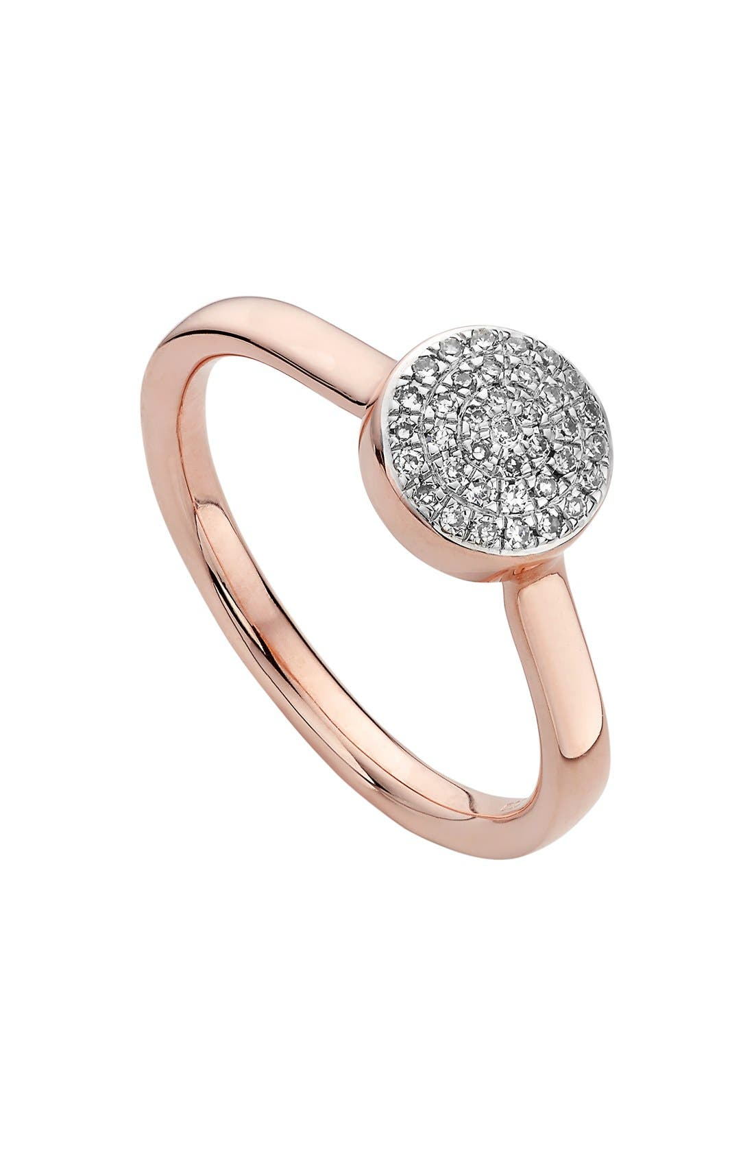 'Ava' Diamond Button Ring,                             Main thumbnail 1, color,                             ROSE GOLD