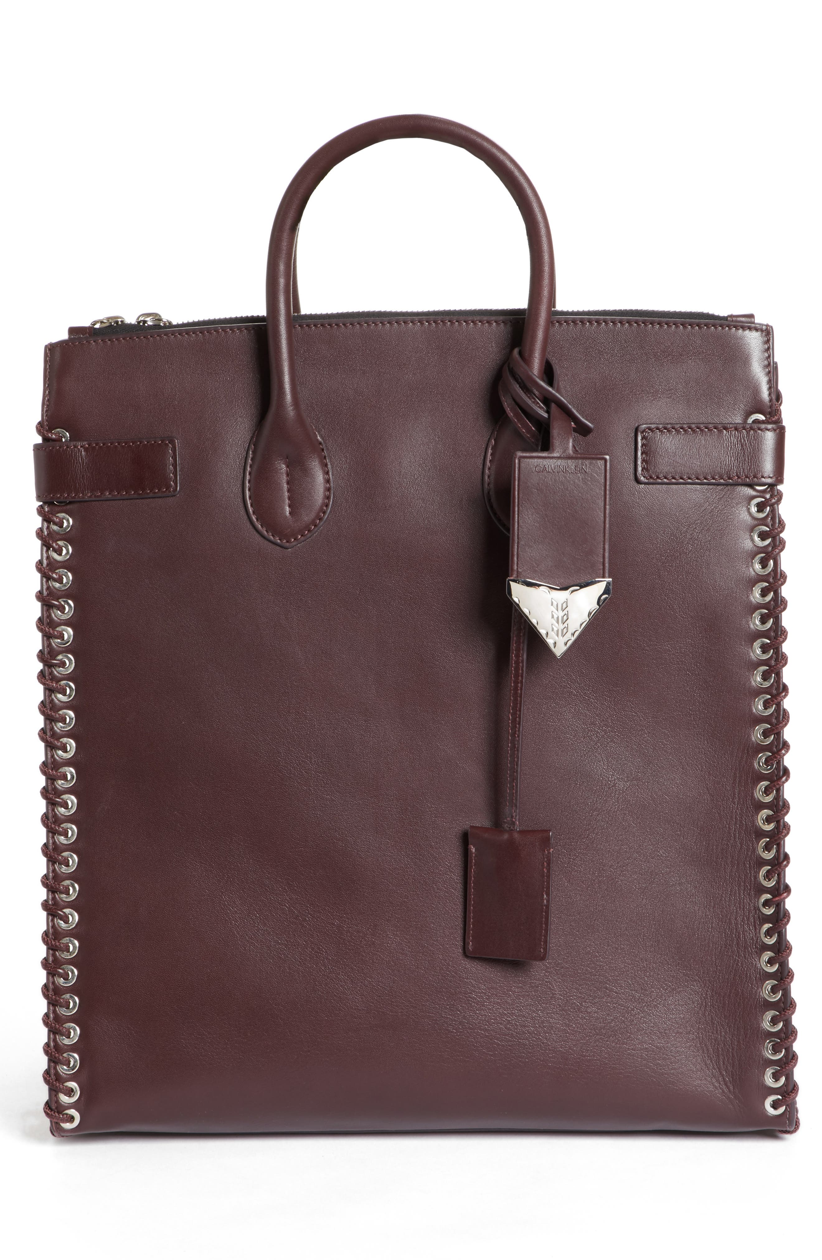 Whipstitch Calfskin Tote,                             Alternate thumbnail 3, color,                             200