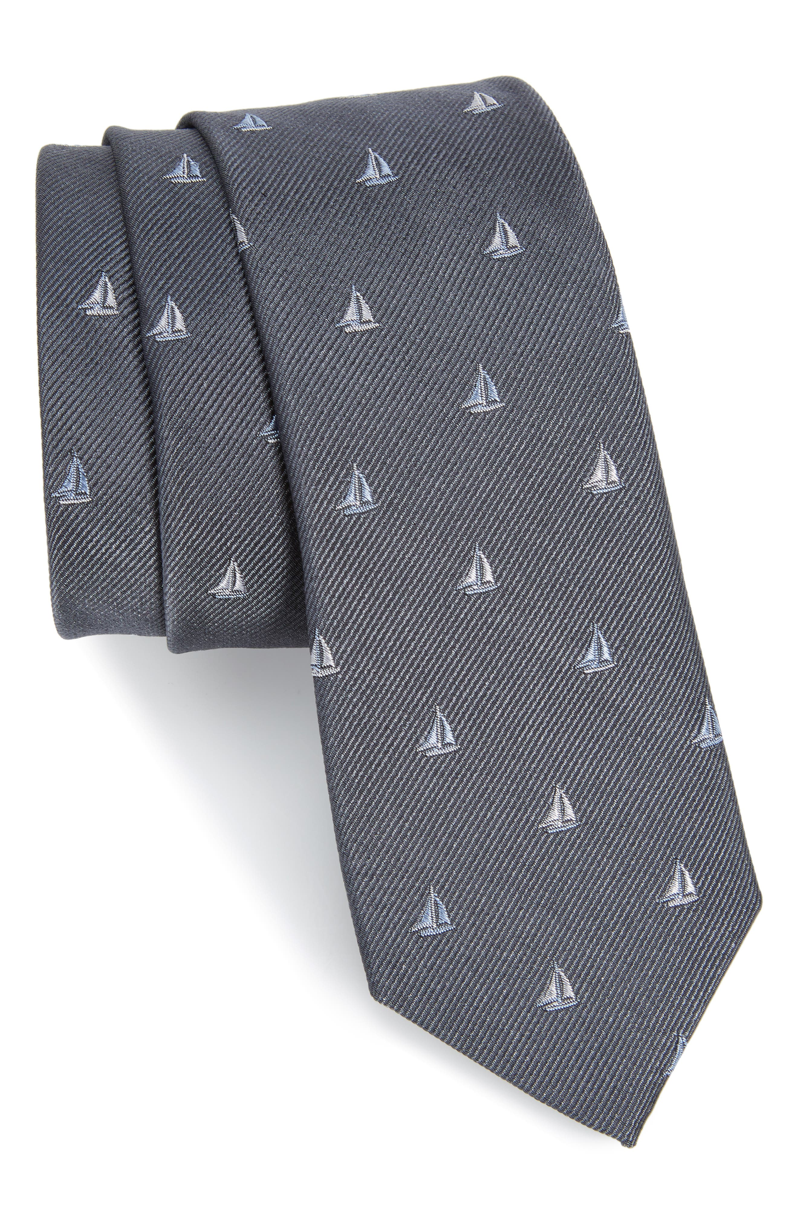 Sailboat Silk Skinny Tie,                         Main,                         color, 010