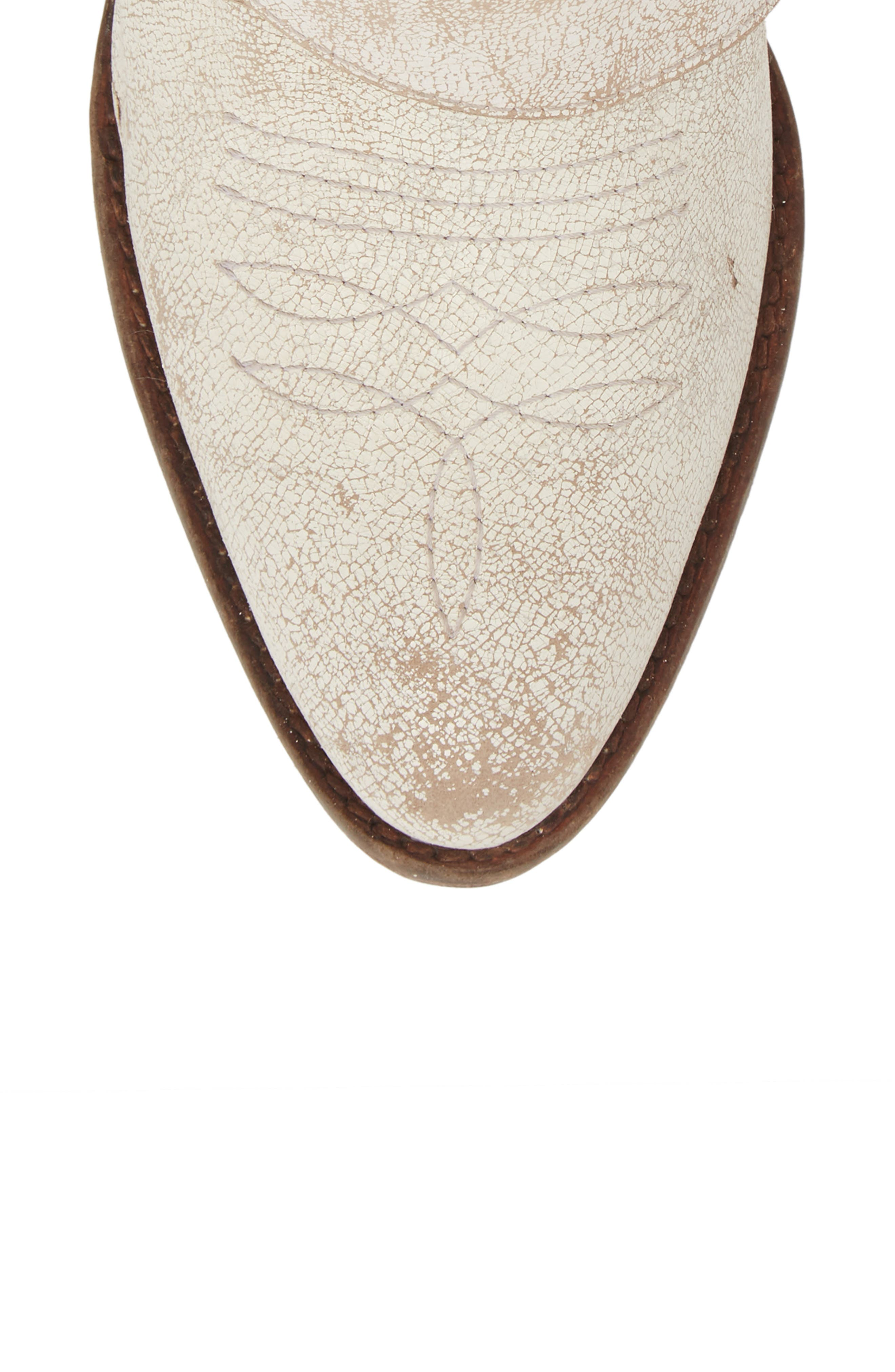 Western Biker Bootie,                             Alternate thumbnail 5, color,                             WHITE LEATHER
