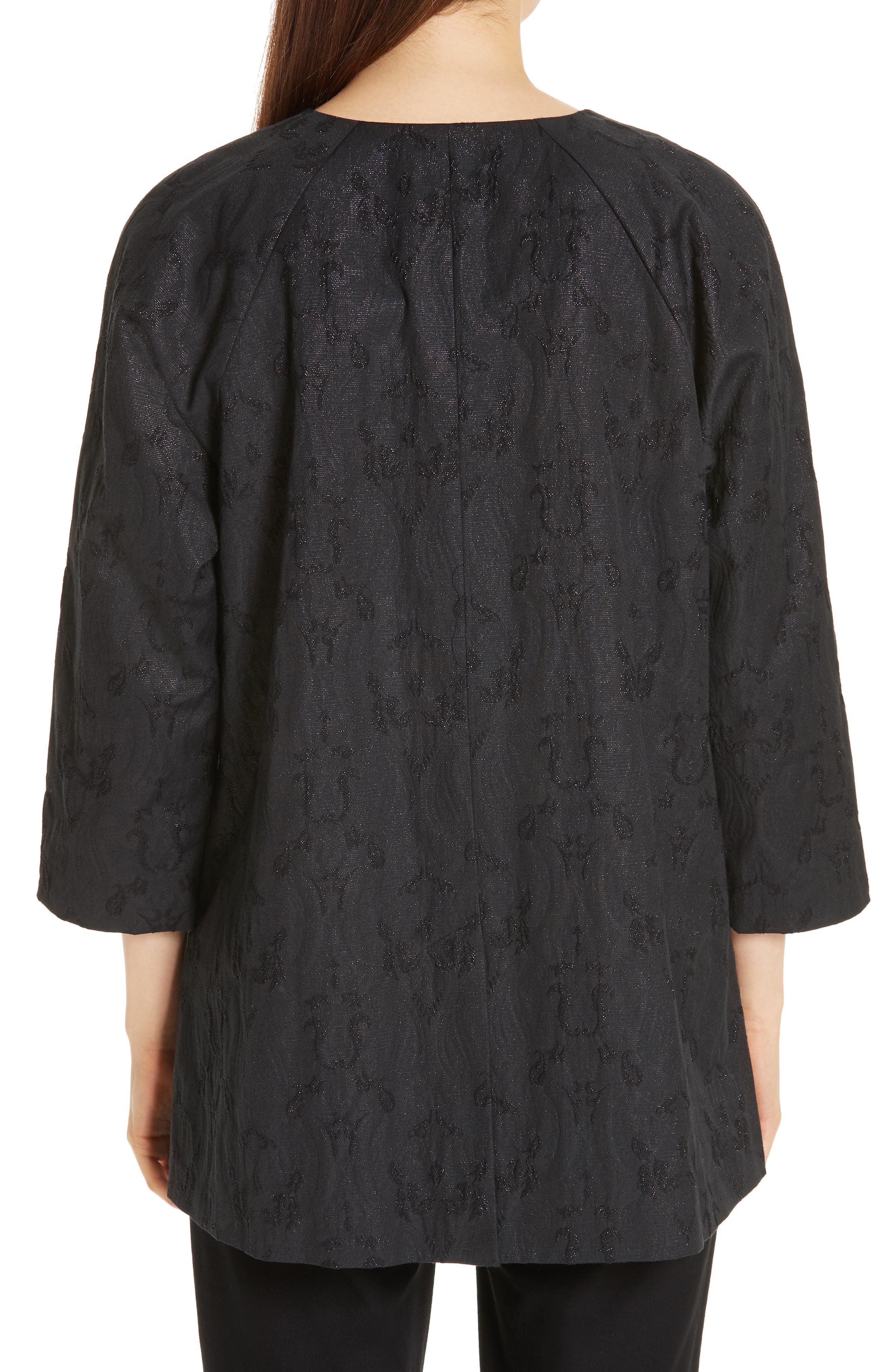 EILEEN FISHER, Metallic Jacquard Collarless Jacket, Alternate thumbnail 2, color, BLACK