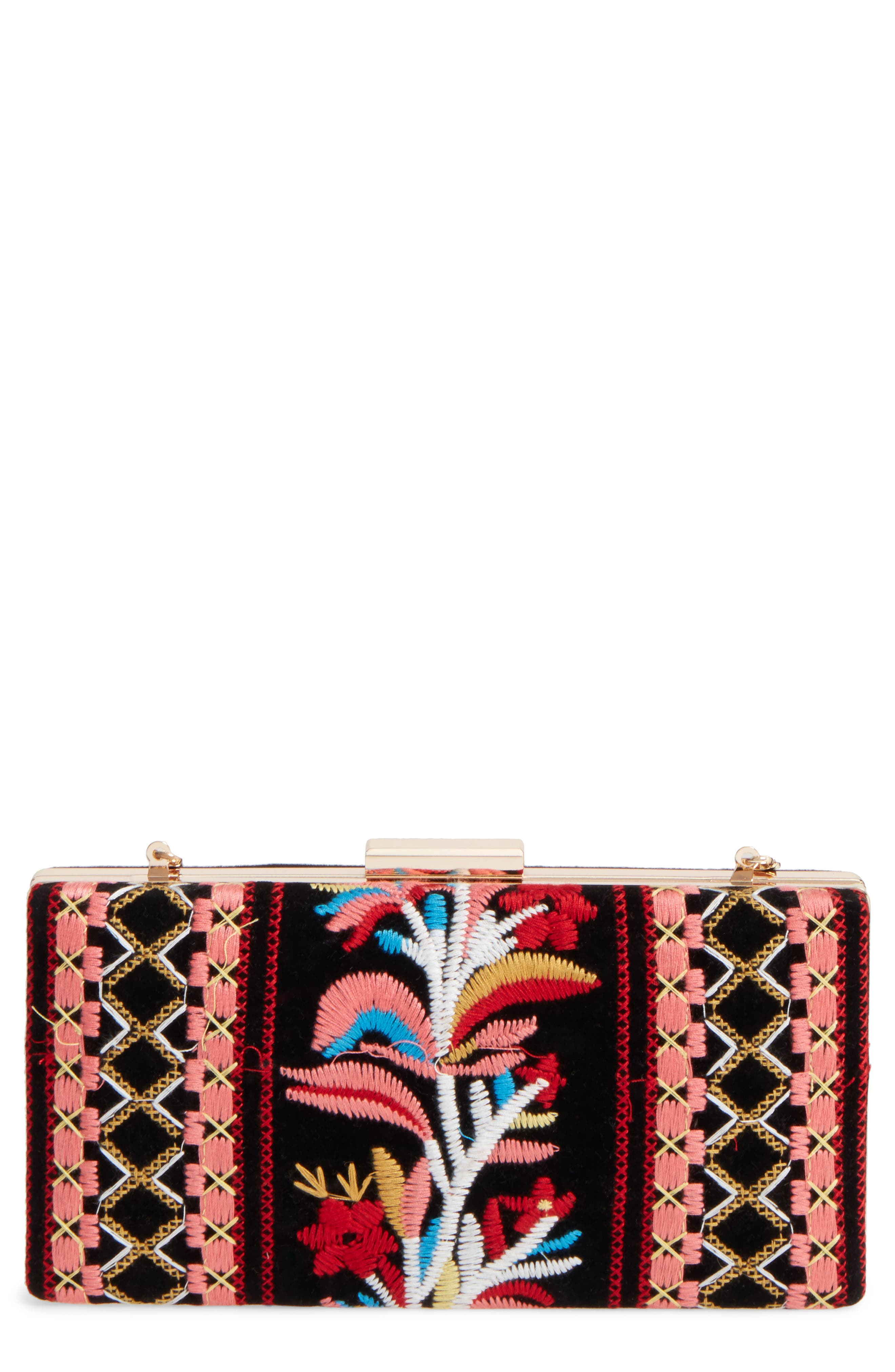 Verna Embroidered Minaudiere,                             Main thumbnail 1, color,                             601
