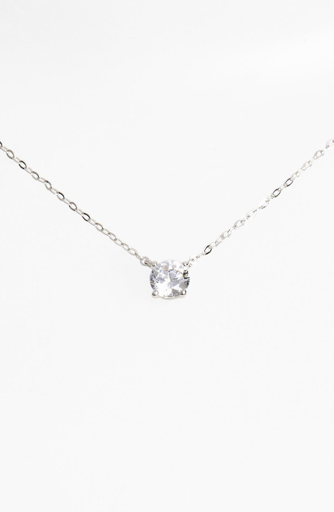 Cubic Zirconia Pendant Necklace,                         Main,                         color, SILVER