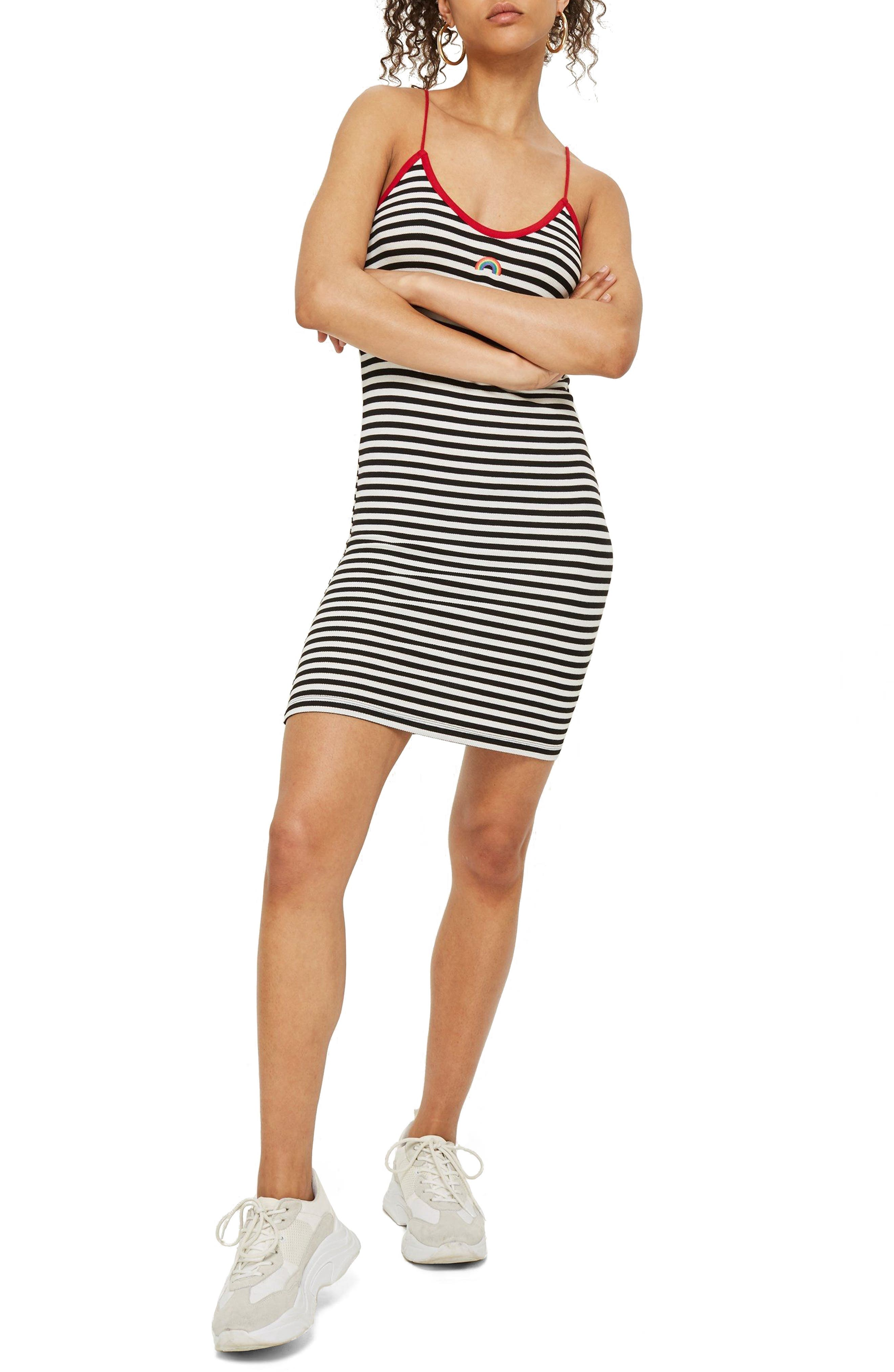 Rainbow Detail Stripe Body-Con Dress,                             Main thumbnail 1, color,                             002