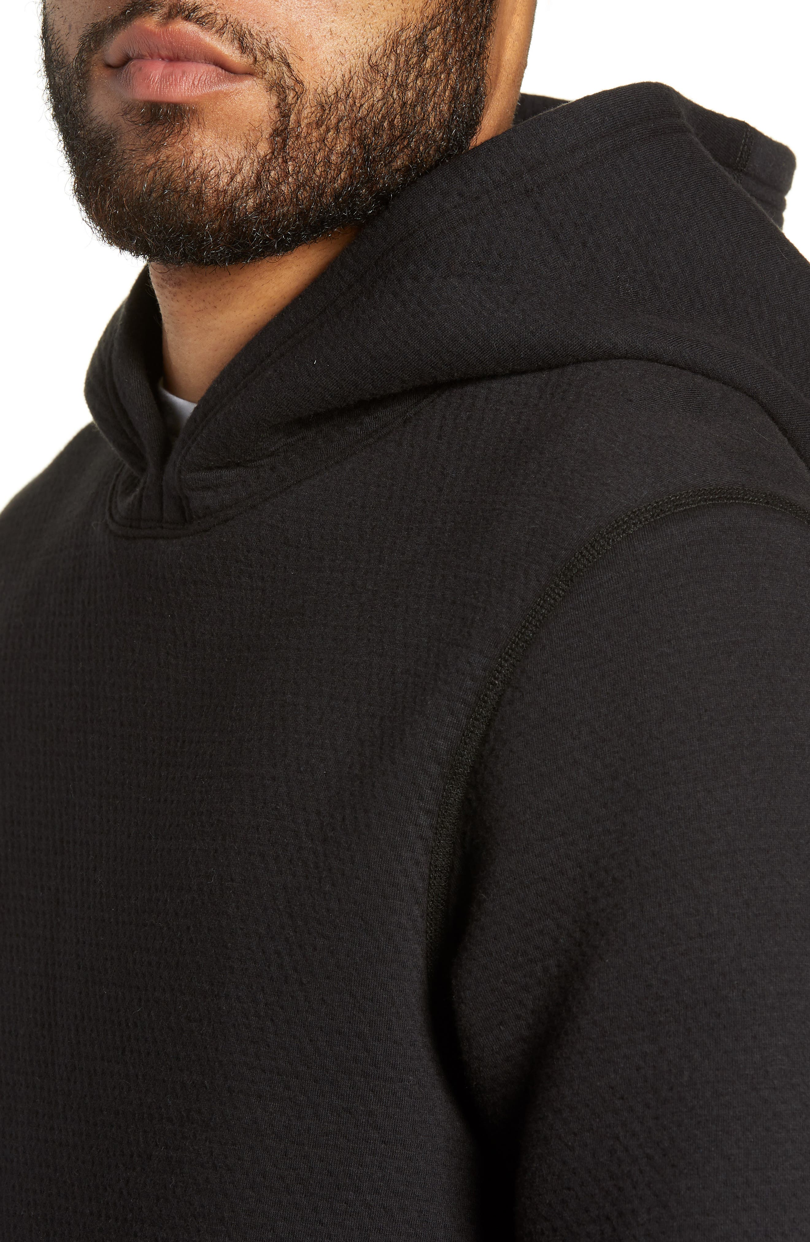 Side Zip Hoodie,                             Alternate thumbnail 4, color,                             BLACK
