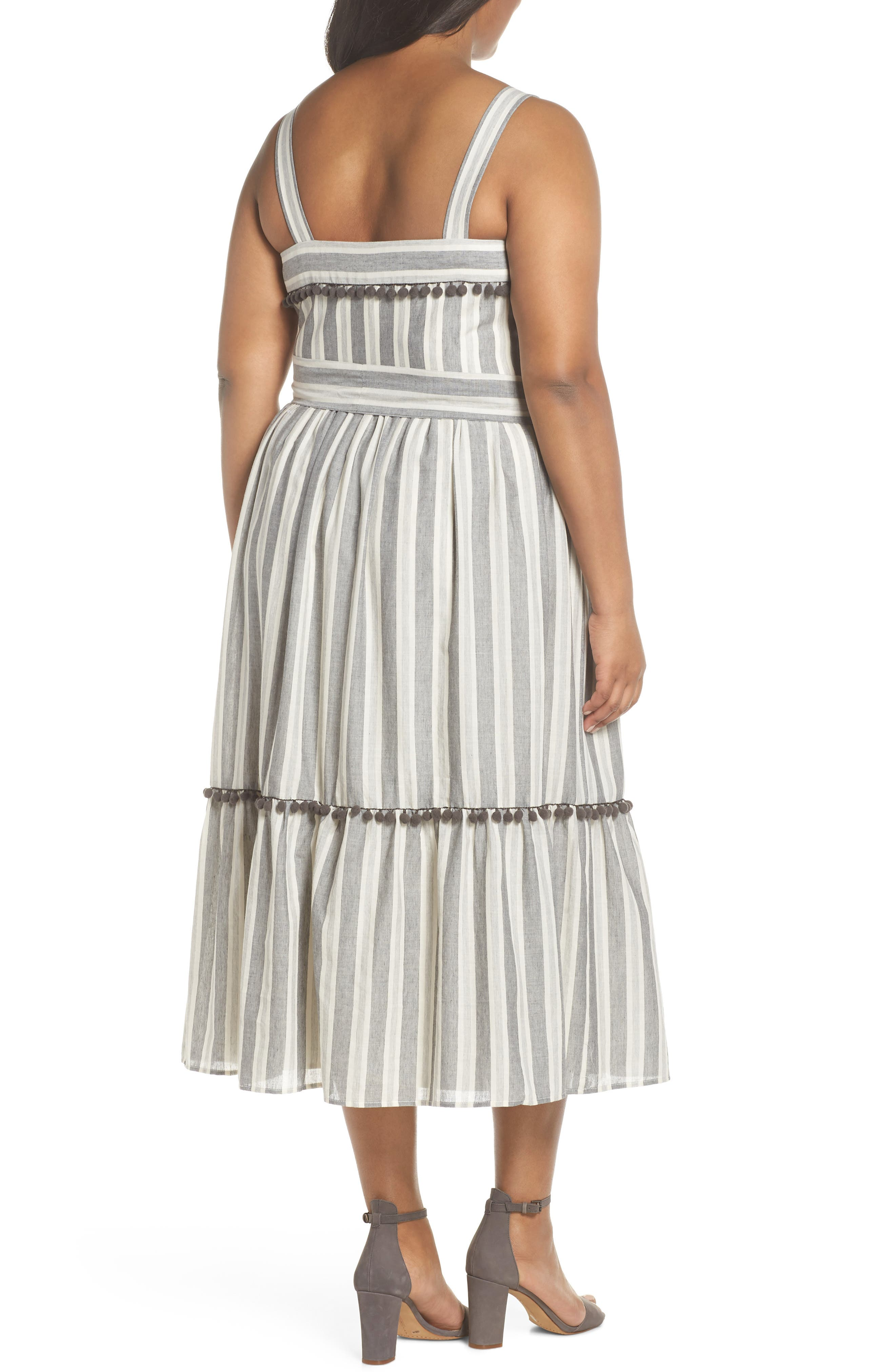 Painted Stripe Ruffle Hem Midi Dress,                             Alternate thumbnail 2, color,                             020