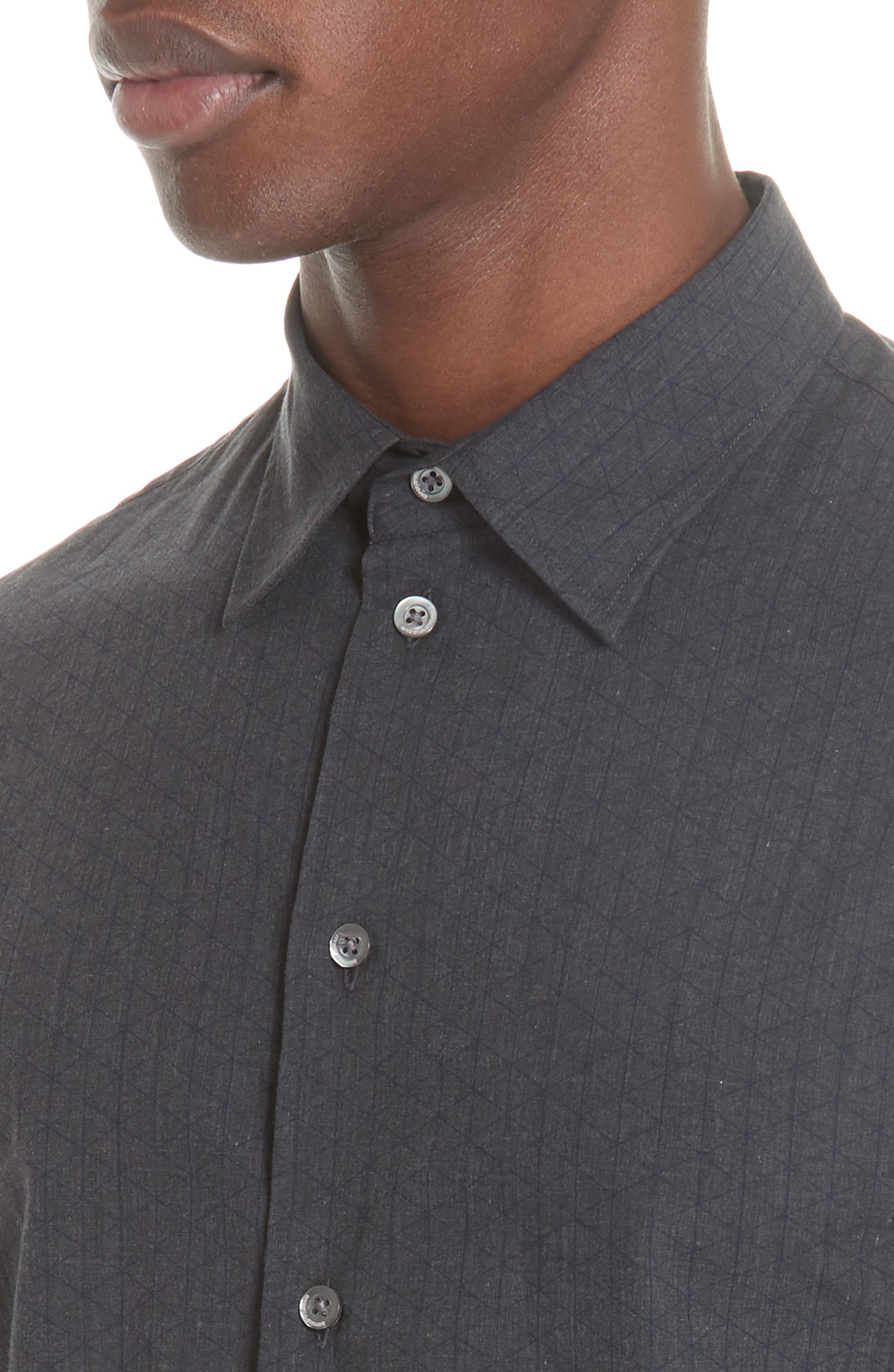 Regular Fit Geometric Sport Shirt,                             Alternate thumbnail 4, color,                             GREY