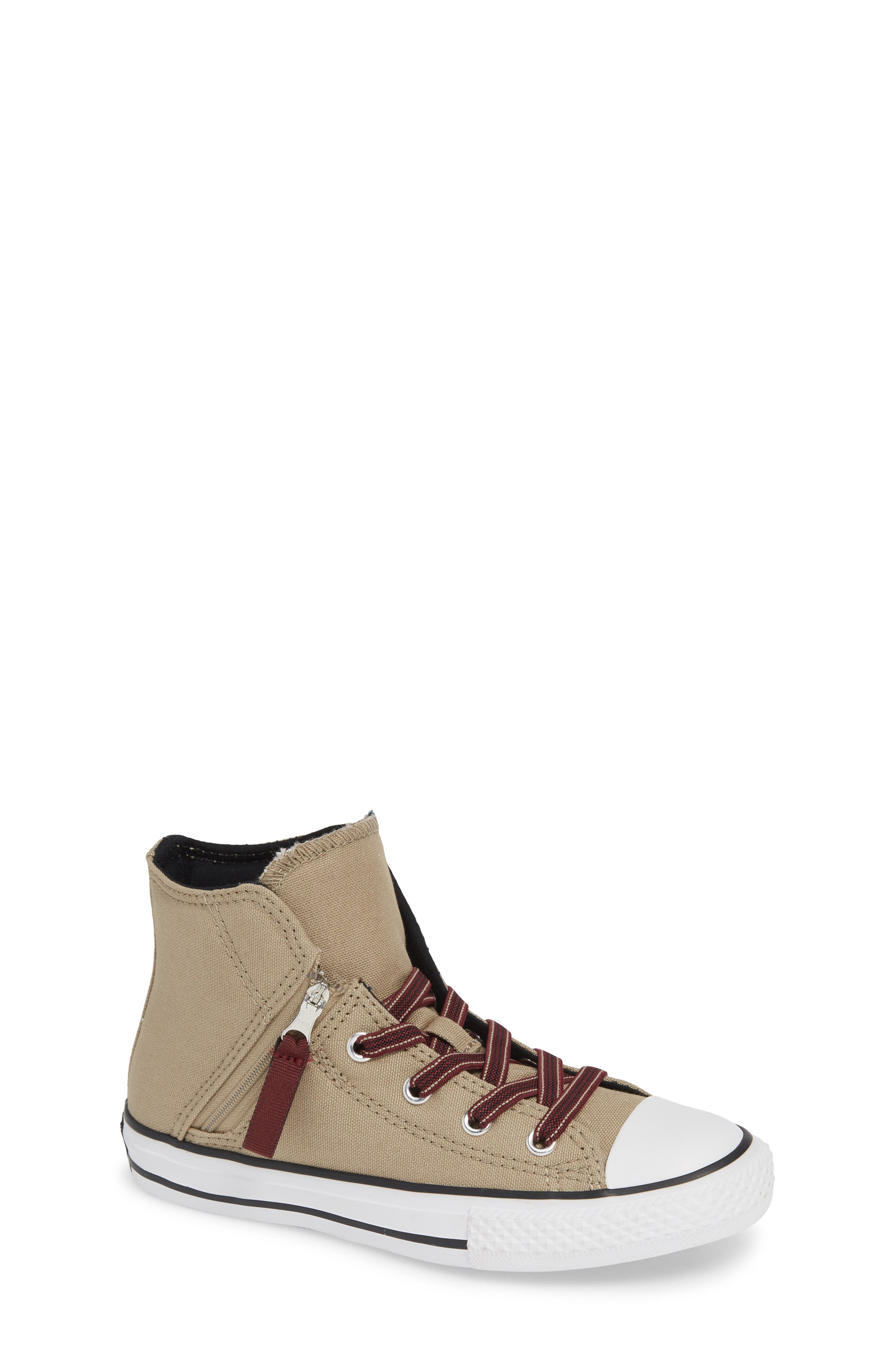 Chuck Taylor<sup>®</sup> All Star<sup>®</sup> Pull Zip High Top Sneaker, Main, color, KHAKI