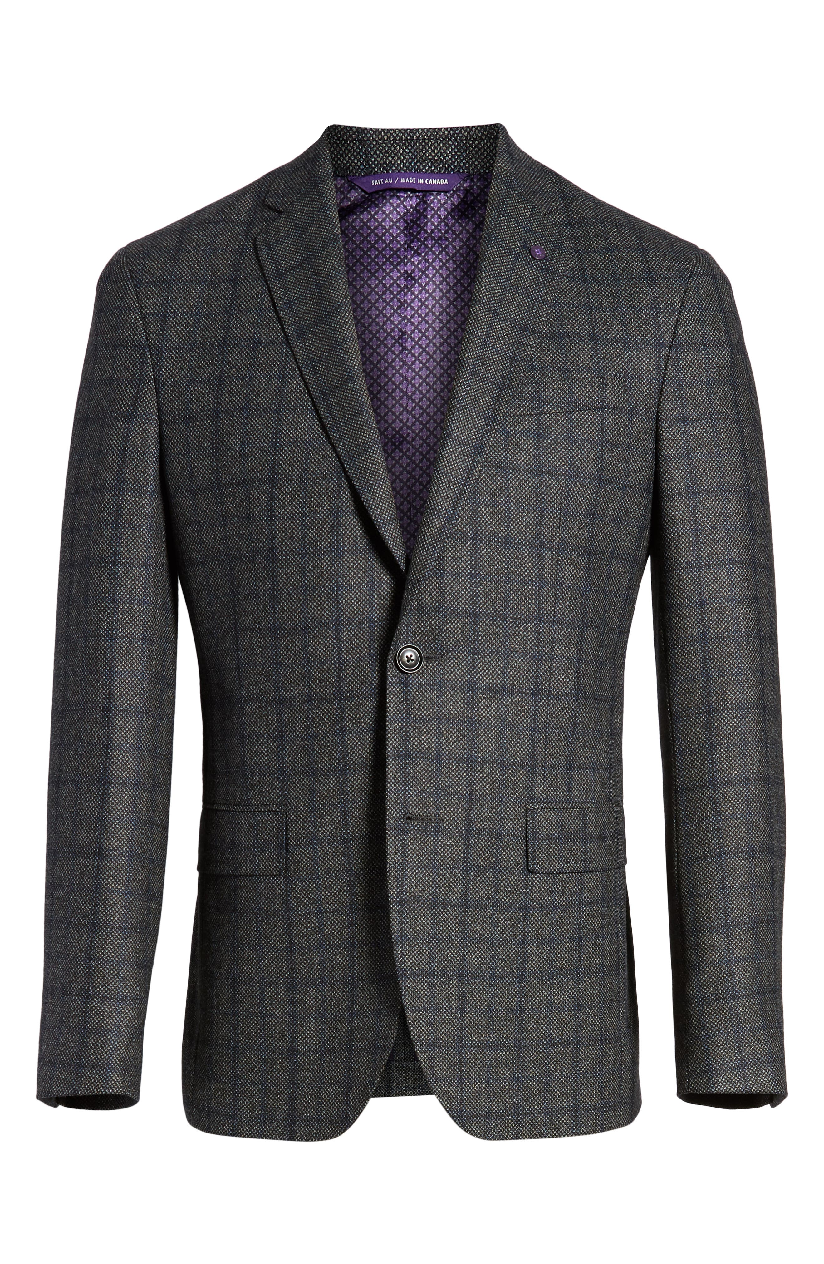 Konan Trim Fit Windowpane Wool Sport Coat,                             Alternate thumbnail 5, color,                             GREY