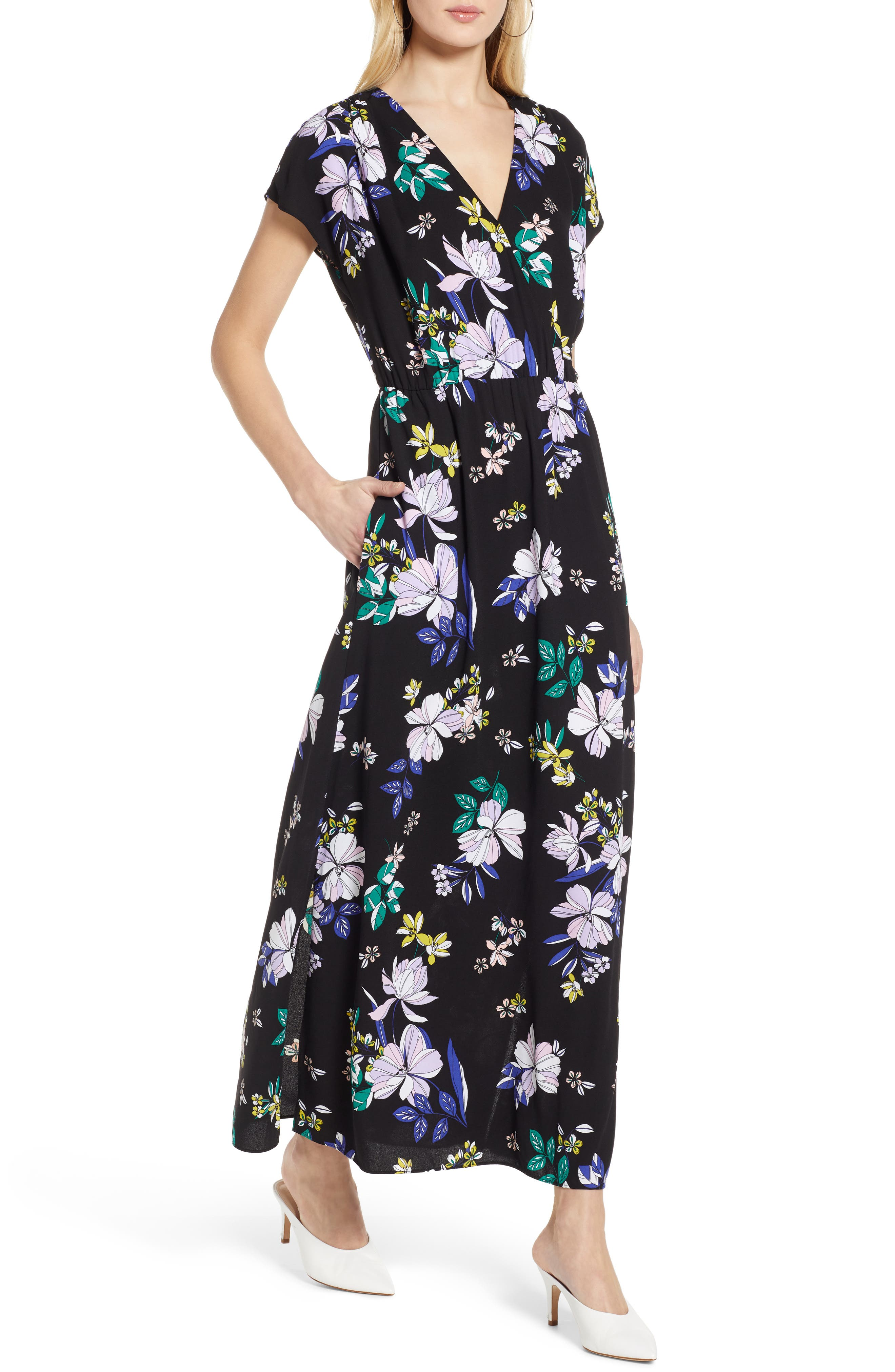 Petite Halogen V-Neck Maxi Dress, Black