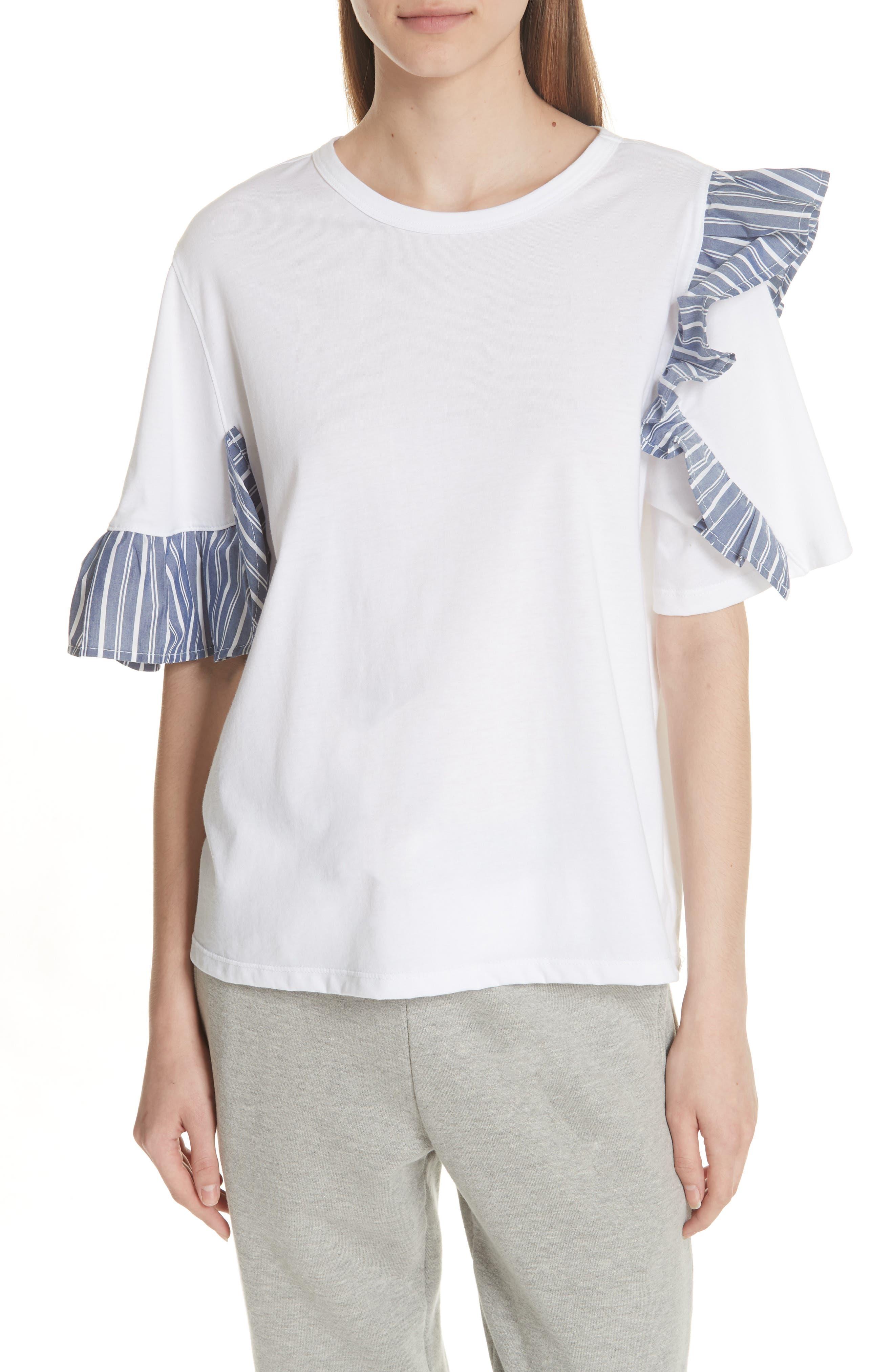 Stripe Ruffle Trim Tee,                         Main,                         color, WHITE
