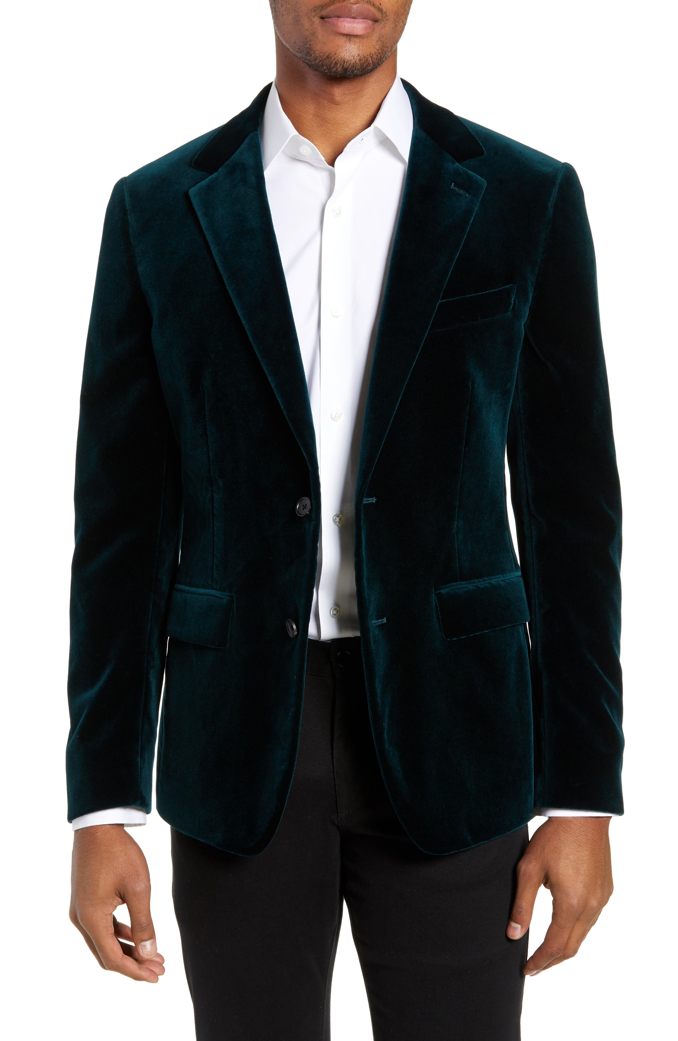 Jetsetter Slim Fit Stretch Velveteen Blazer,                             Main thumbnail 1, color,                             SOFT TEAL