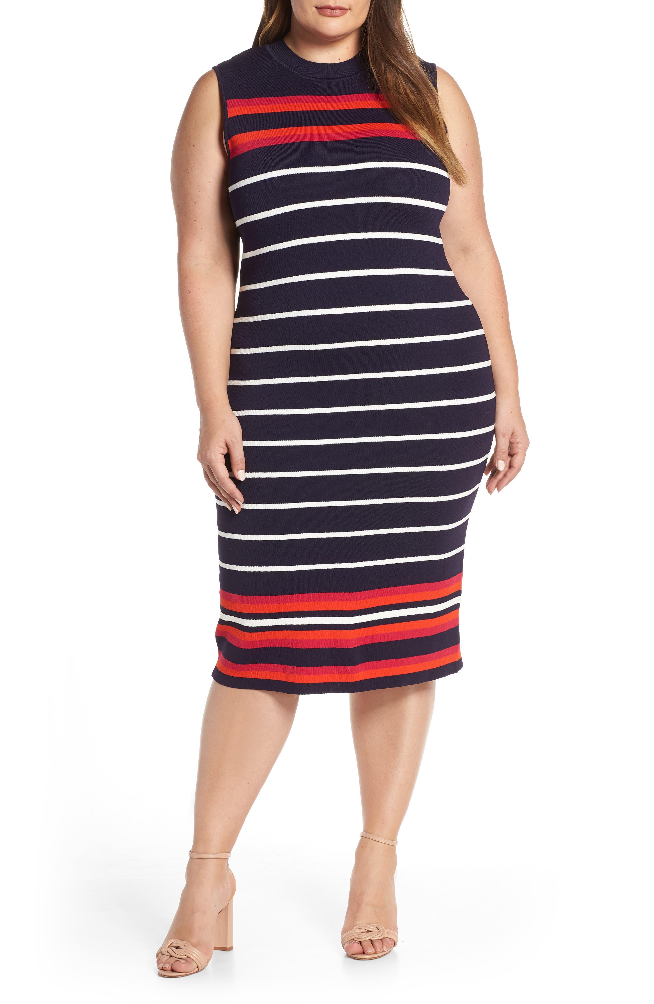 Plus Size Eliza J Stripe Knit Sheath Dress, Blue
