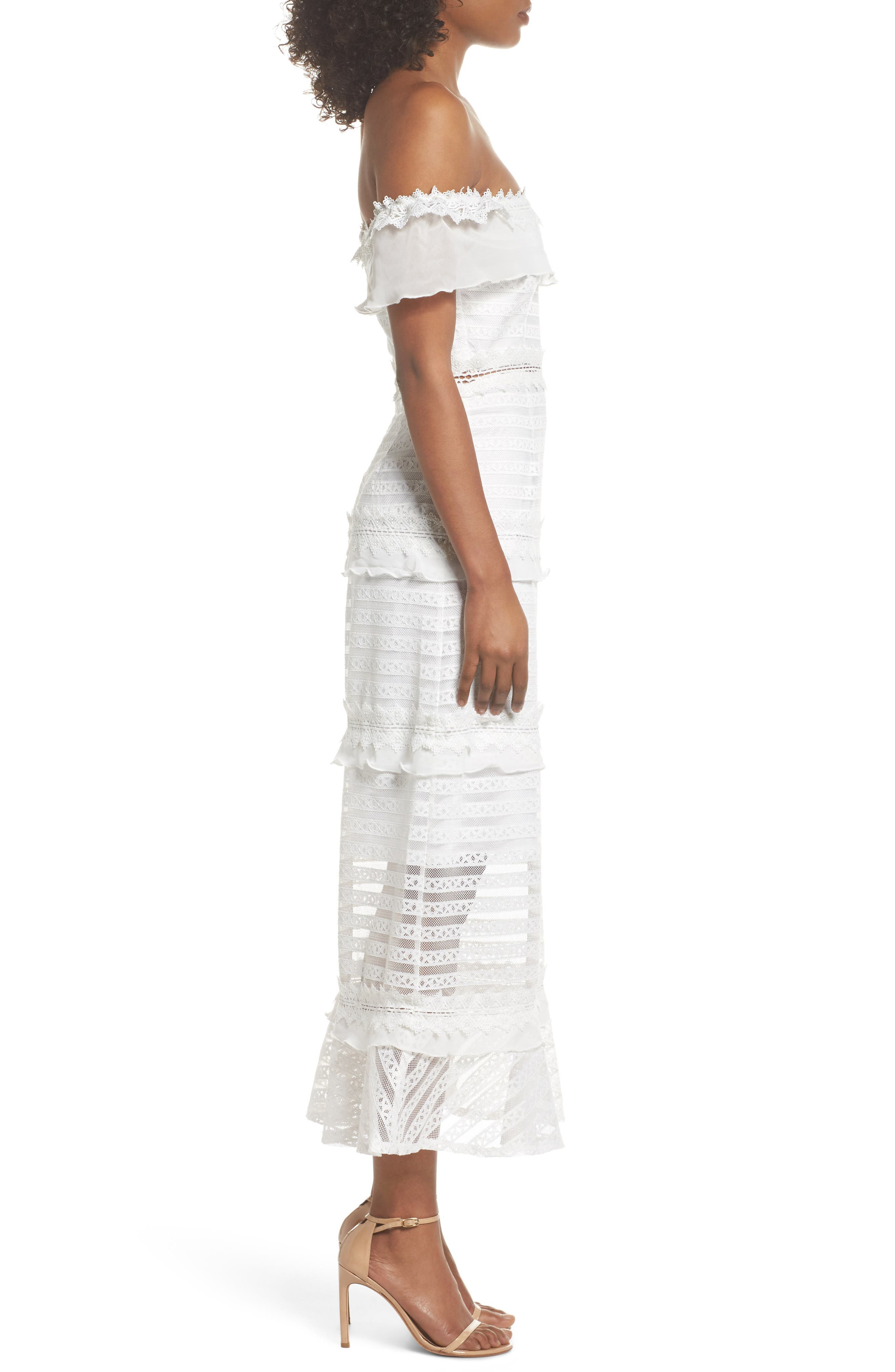 Lucy Off the Shoulder Stripe Lace Dress,                             Alternate thumbnail 3, color,                             OFF WHITE