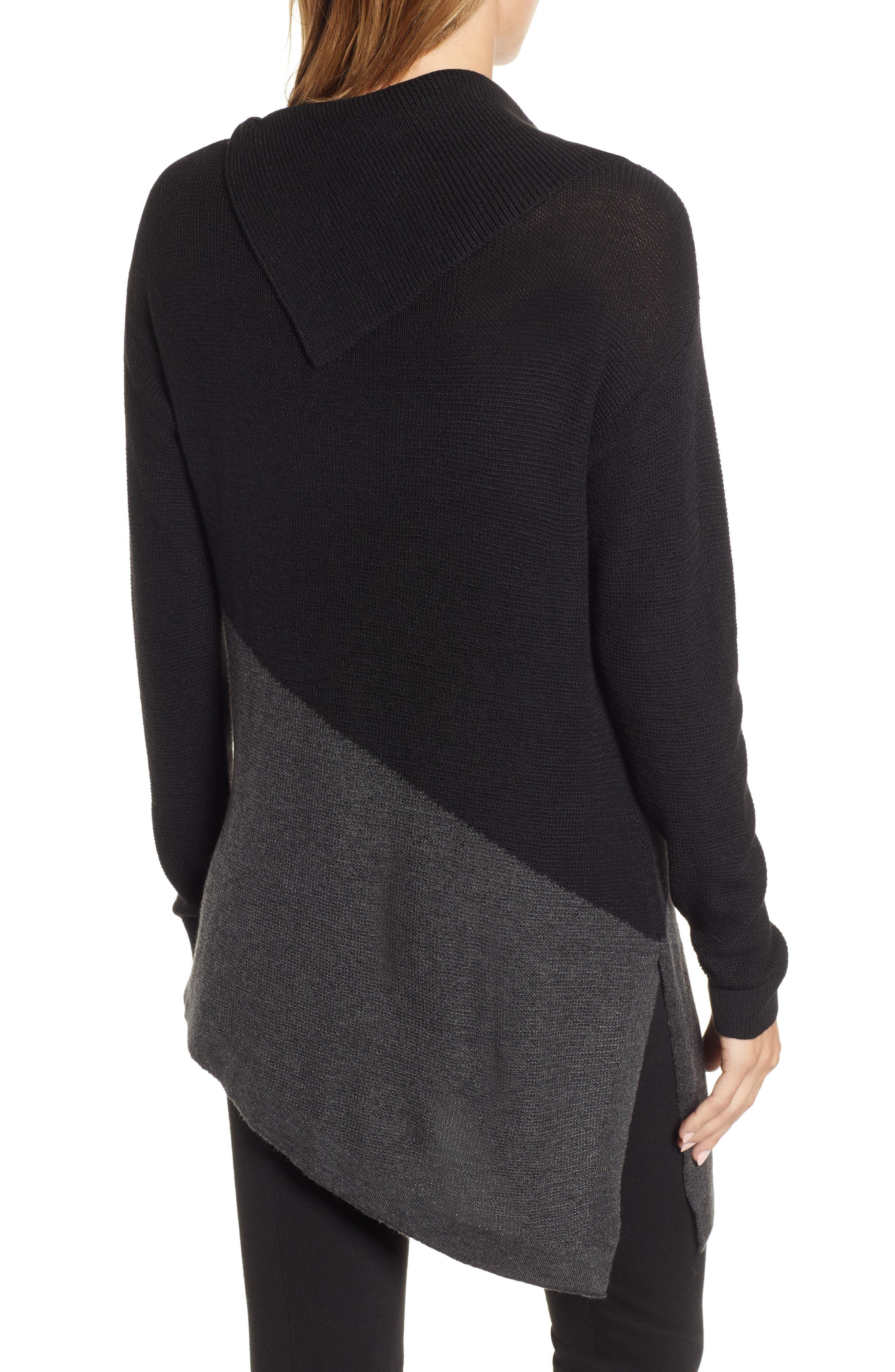 Asymmetrical Colorblock Tunic Sweater,                             Alternate thumbnail 2, color,                             RICH BLACK