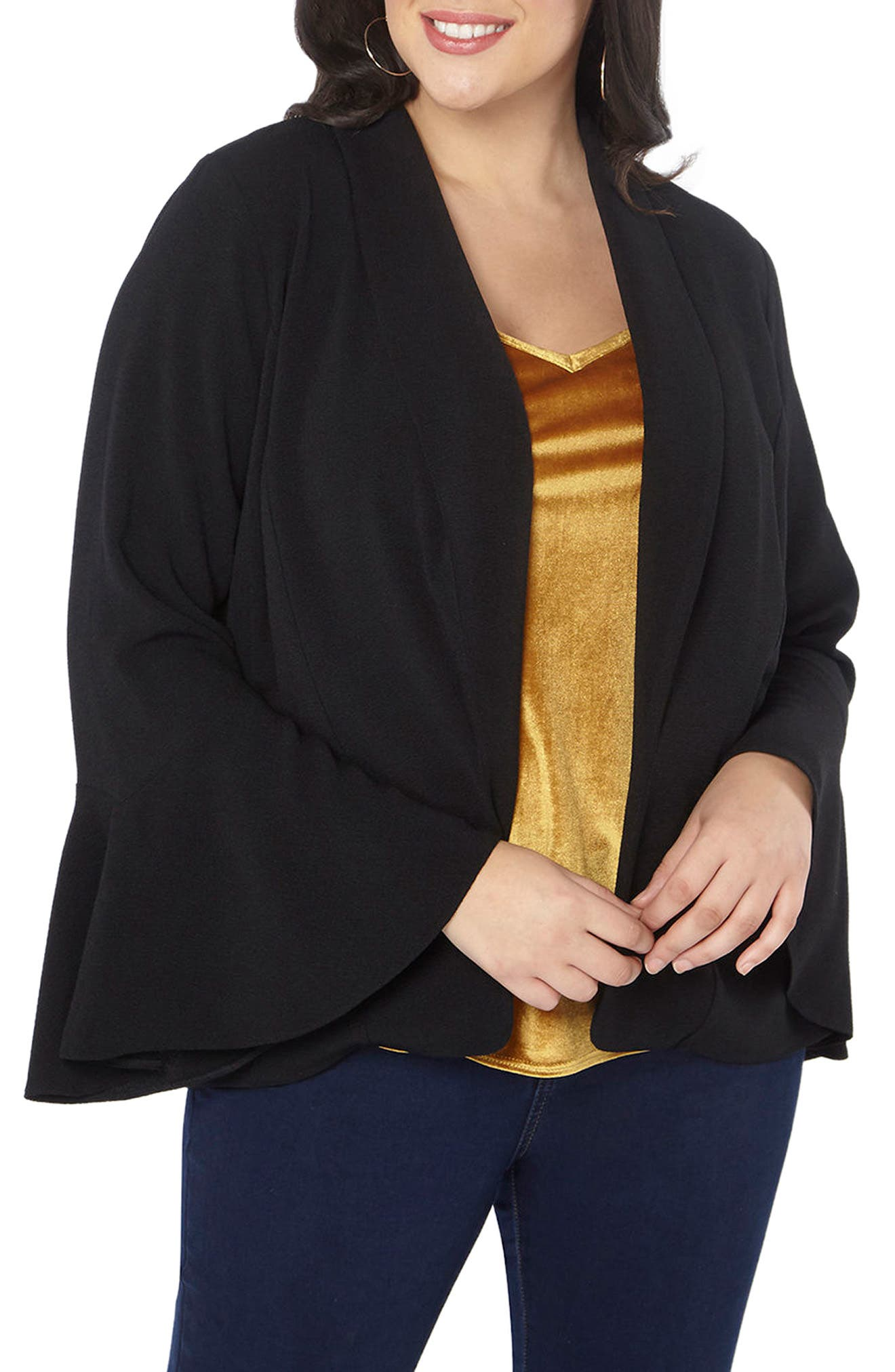 Bell Sleeve Crepe Jacket,                         Main,                         color, 001