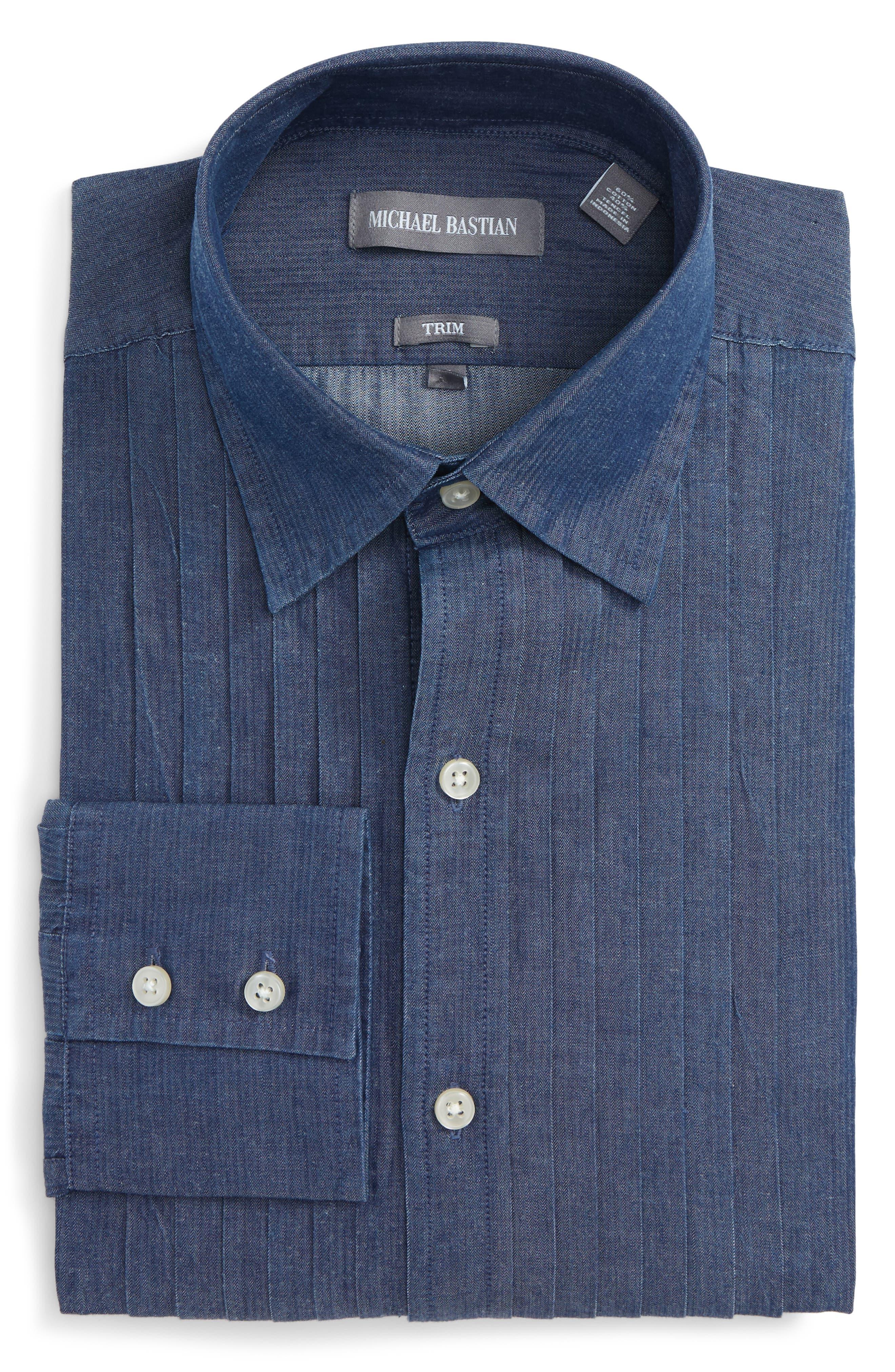 Trim Fit Denim Dress Shirt,                         Main,                         color, 402