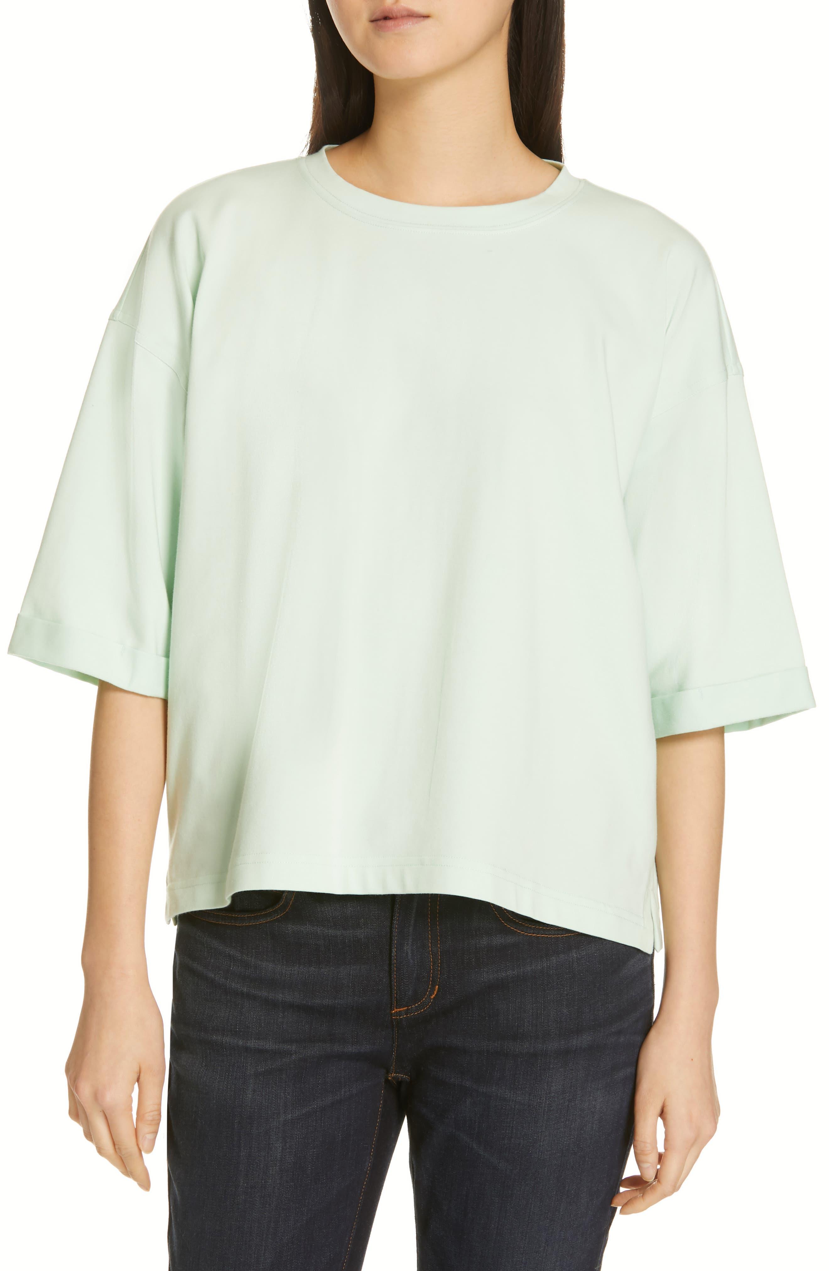 Eileen Fisher Stretch Organic Cotton Top, Blue