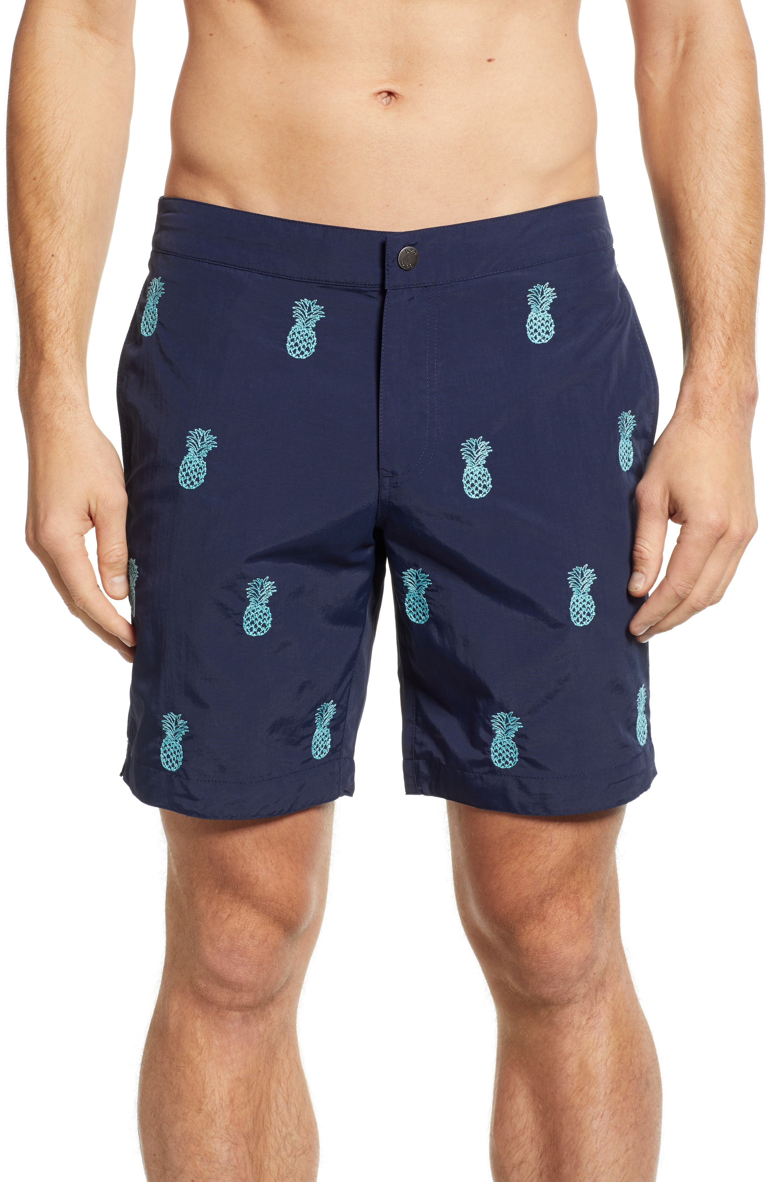 Aruba Embroidered 8.5 Inch Swim Trunks,                         Main,                         color, NAVY EMBROIDERED PINEAPPLES