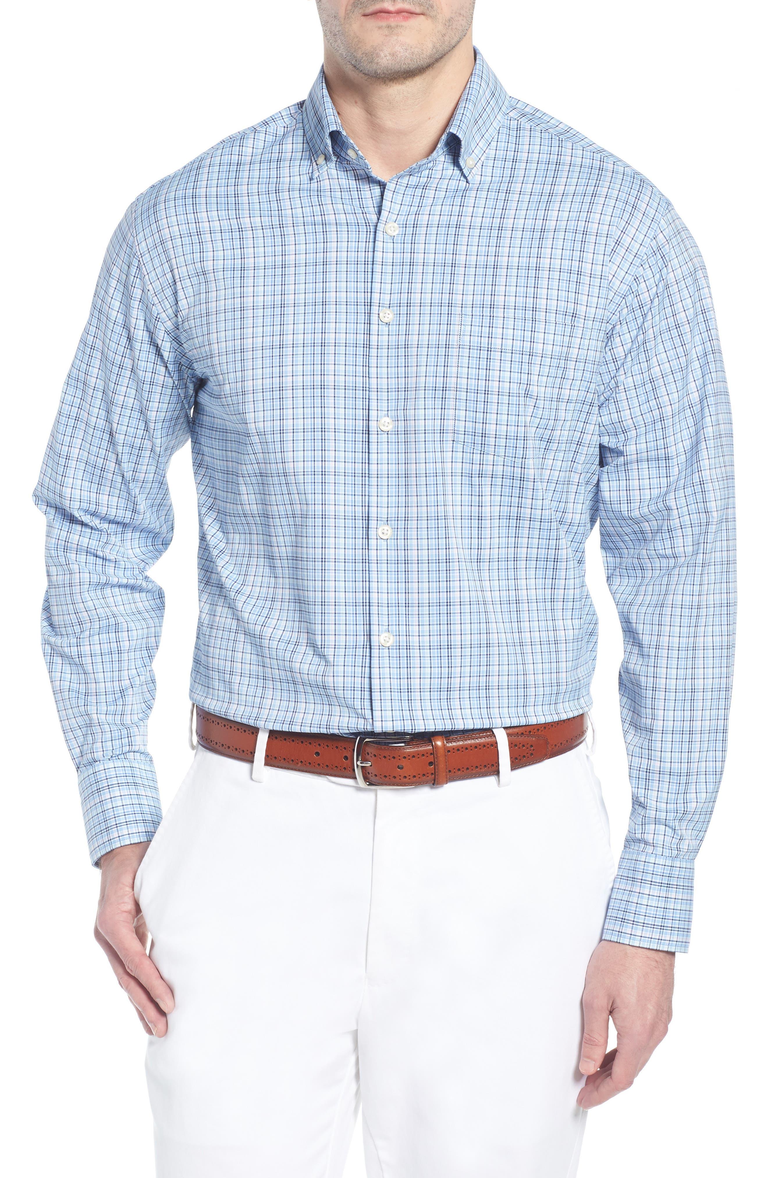 Jojo Check Performance Sport Shirt,                         Main,                         color, TAHOE BLUE