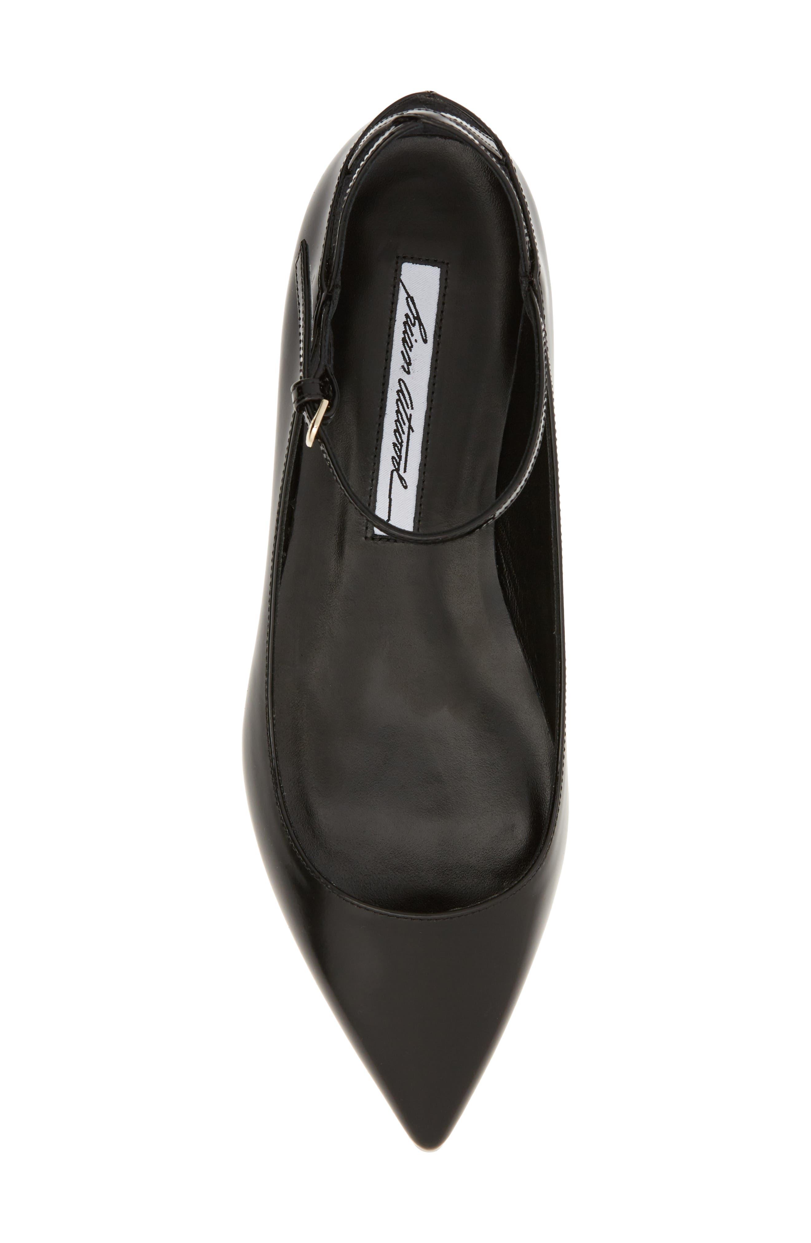 Astrid Ankle Strap Flat,                             Alternate thumbnail 5, color,                             BLACK PATENT