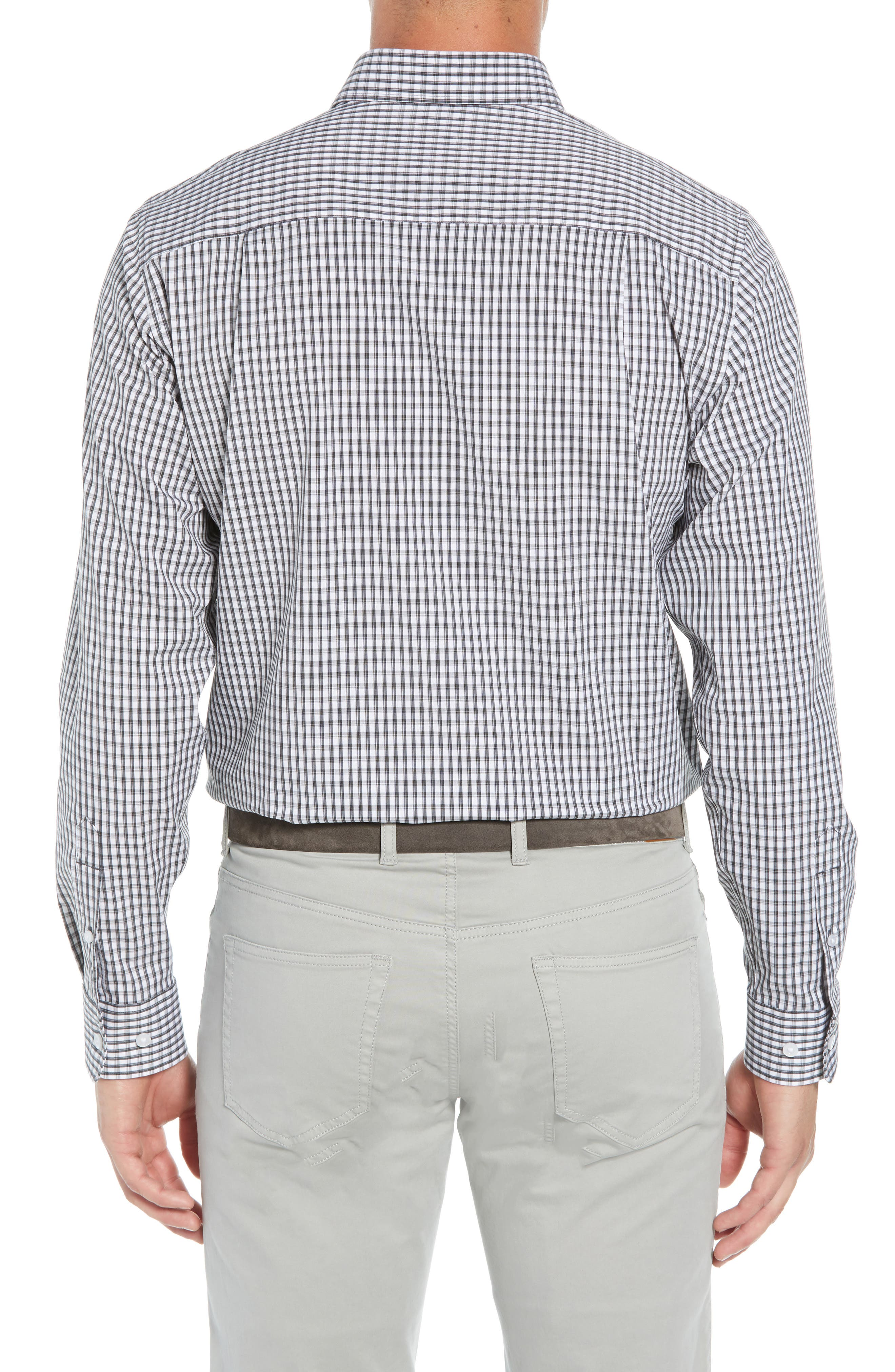 Regular Fit Gingham Non-Iron Sport Shirt,                             Alternate thumbnail 3, color,                             CHARCOAL