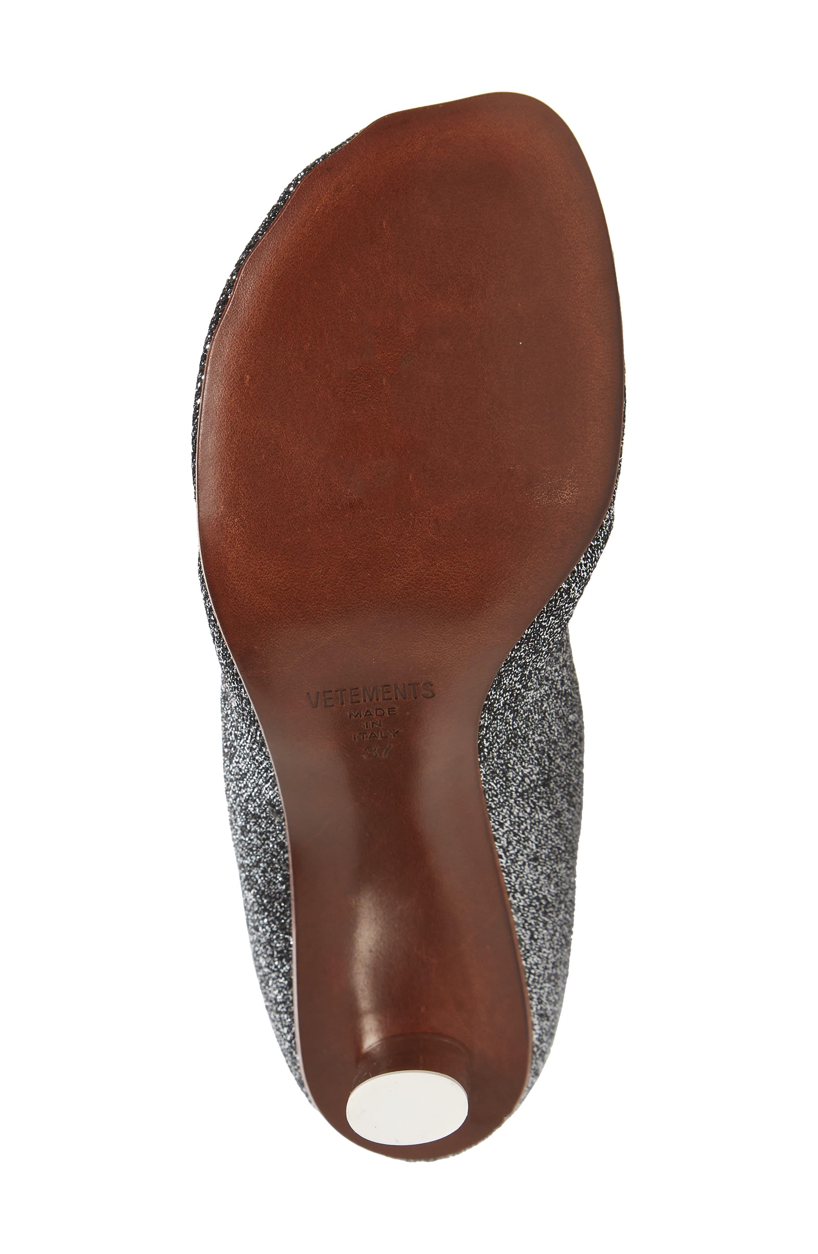 Lurex Sock Boot,                             Alternate thumbnail 6, color,                             SILVER/SILVER HEEL - 814