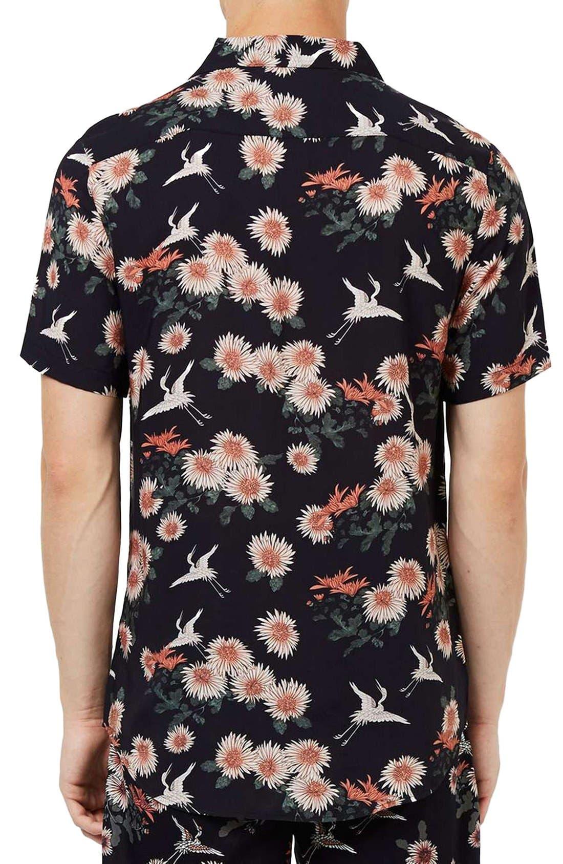 Floral Print Revere Collar Short Sleeve Shirt,                             Alternate thumbnail 4, color,                             001