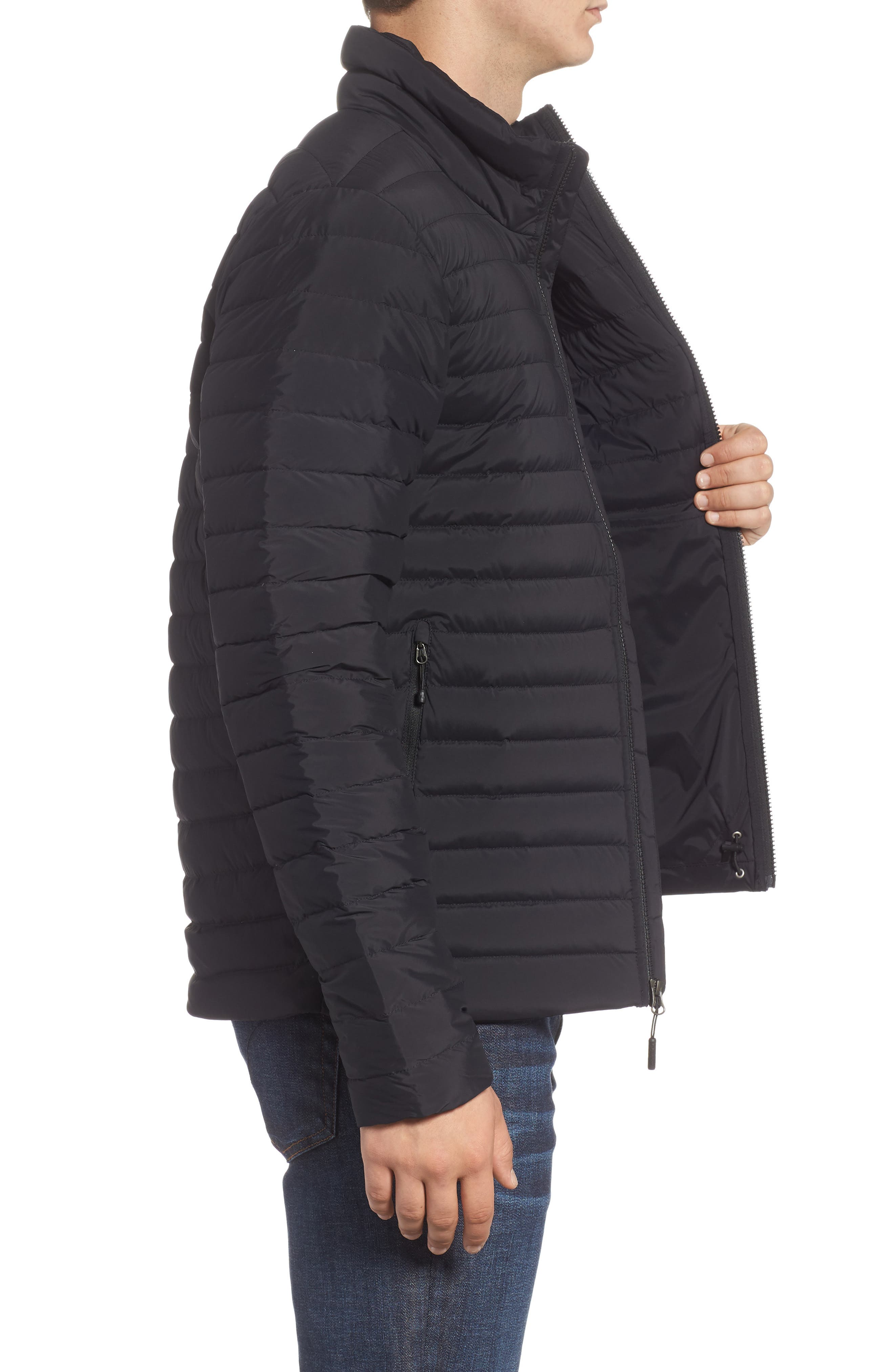 Packable Stretch Down Jacket,                             Alternate thumbnail 3, color,                             TNF BLACK/ TNF BLACK