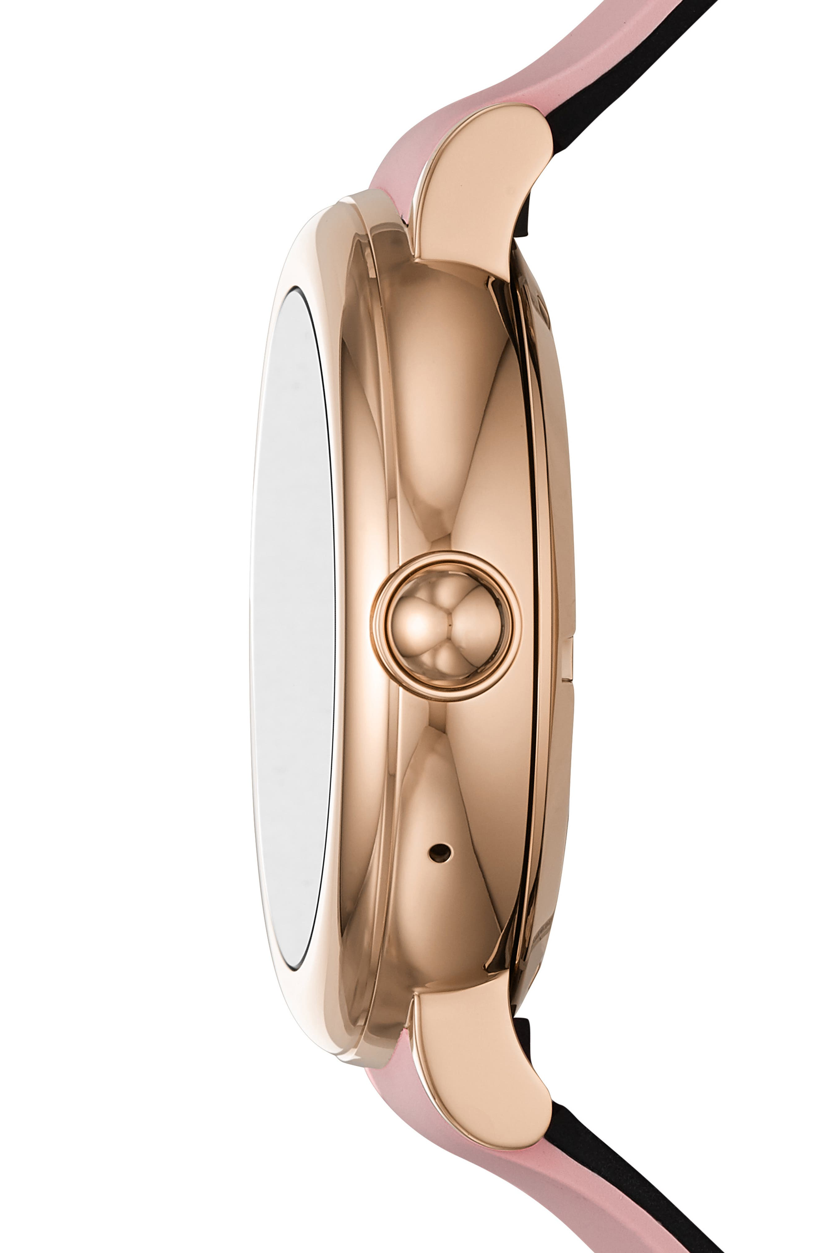 Riley Silcone Strap Smart Watch, 44mm,                             Alternate thumbnail 3, color,                             PINK/ ROSE GOLD