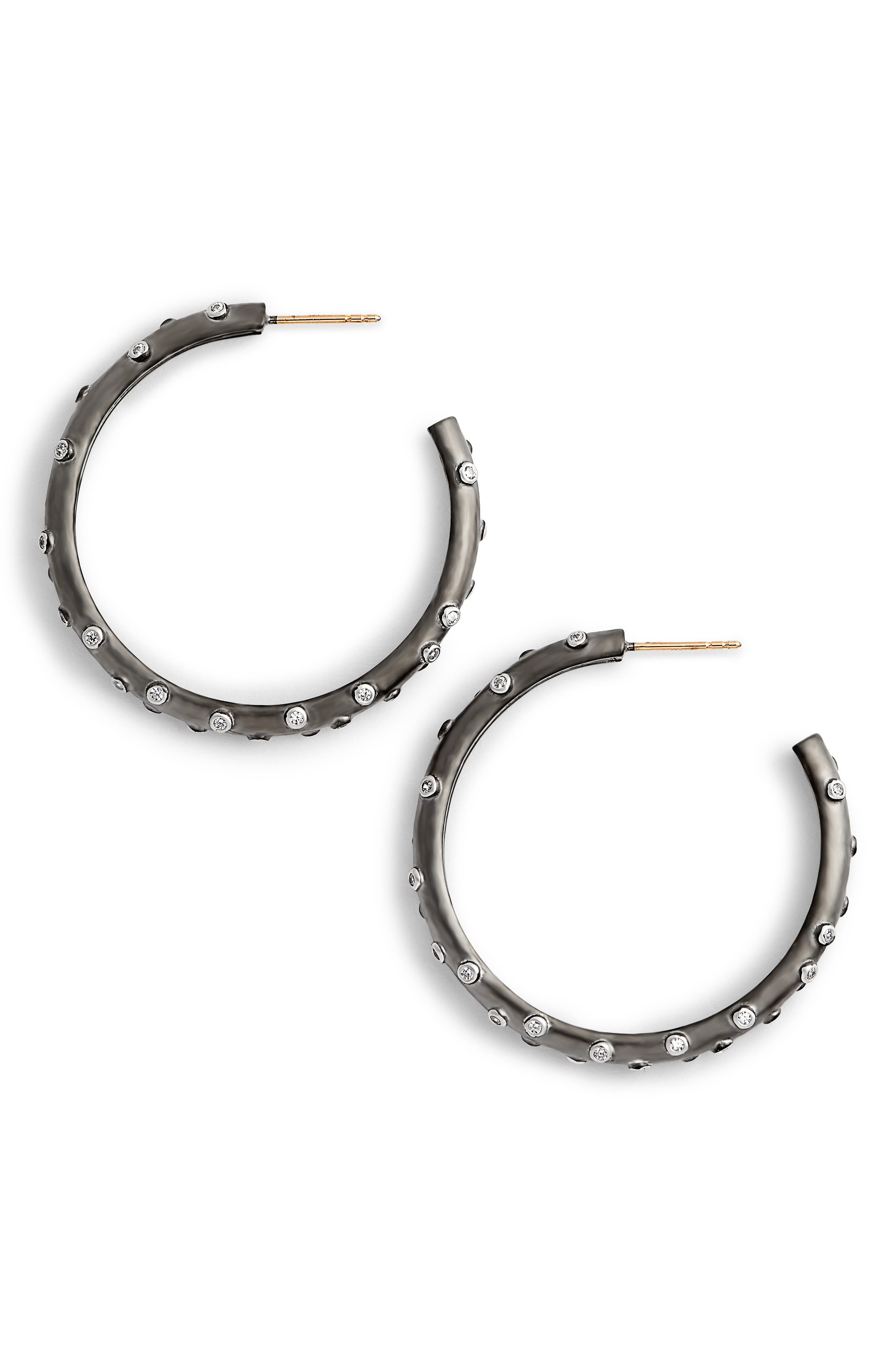 Chunky C-Hoop Earrings,                             Main thumbnail 1, color,                             BLACK/ WHITE/ SILVER