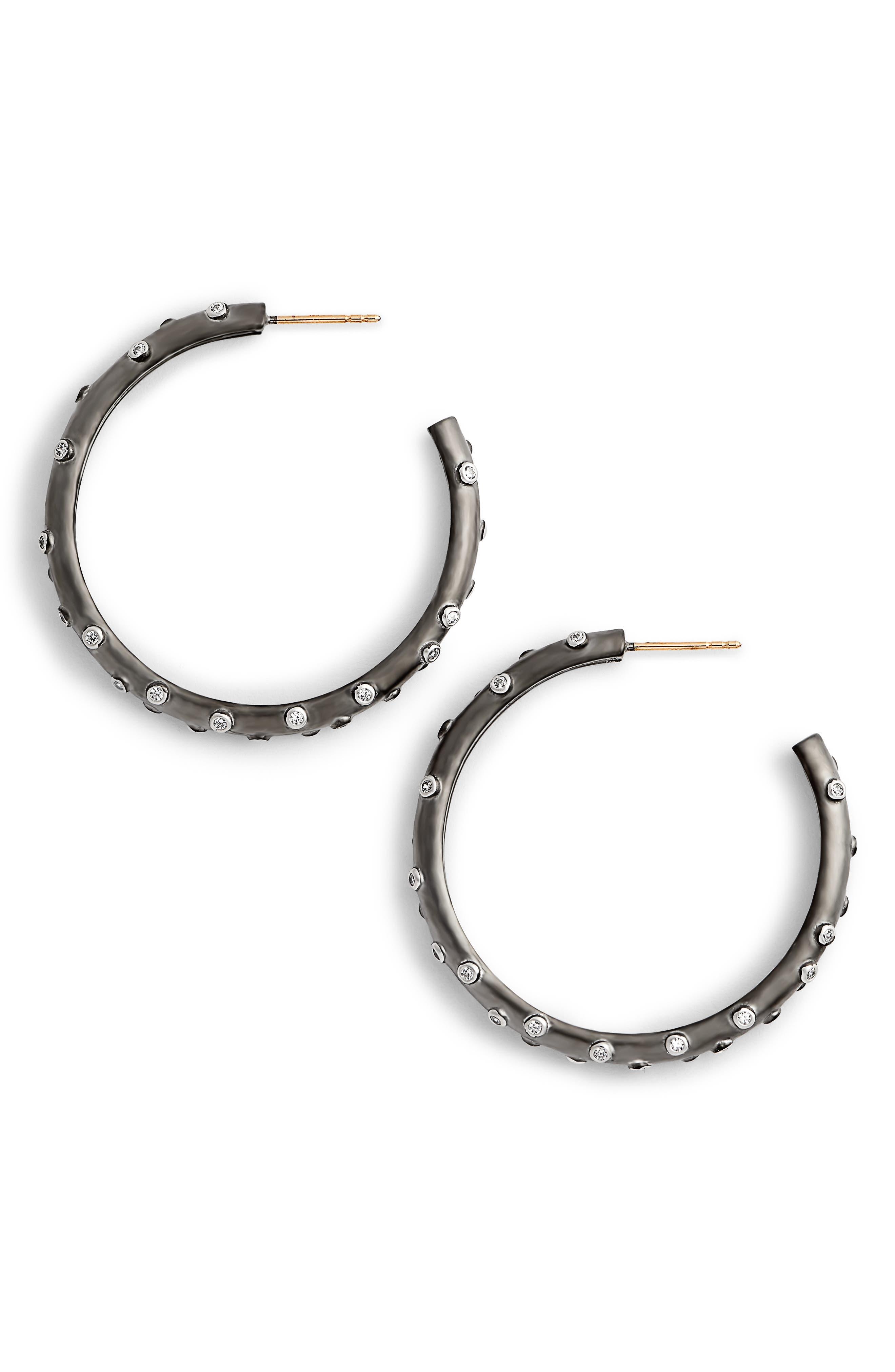 Chunky C-Hoop Earrings,                         Main,                         color, BLACK/ WHITE/ SILVER