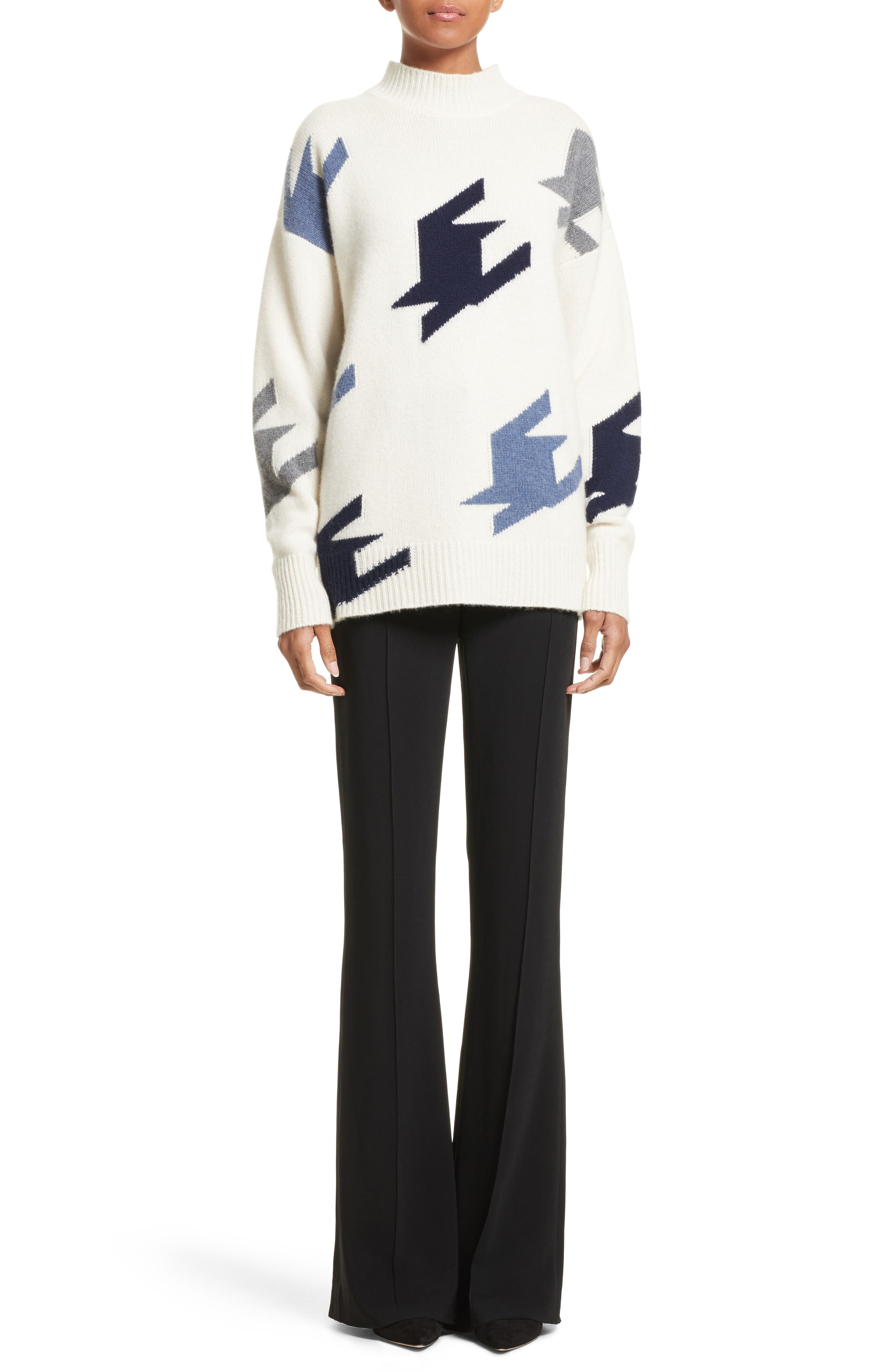 VICTORIA BECKHAM,                             Houndstooth Cashmere Sweater,                             Alternate thumbnail 6, color,                             905