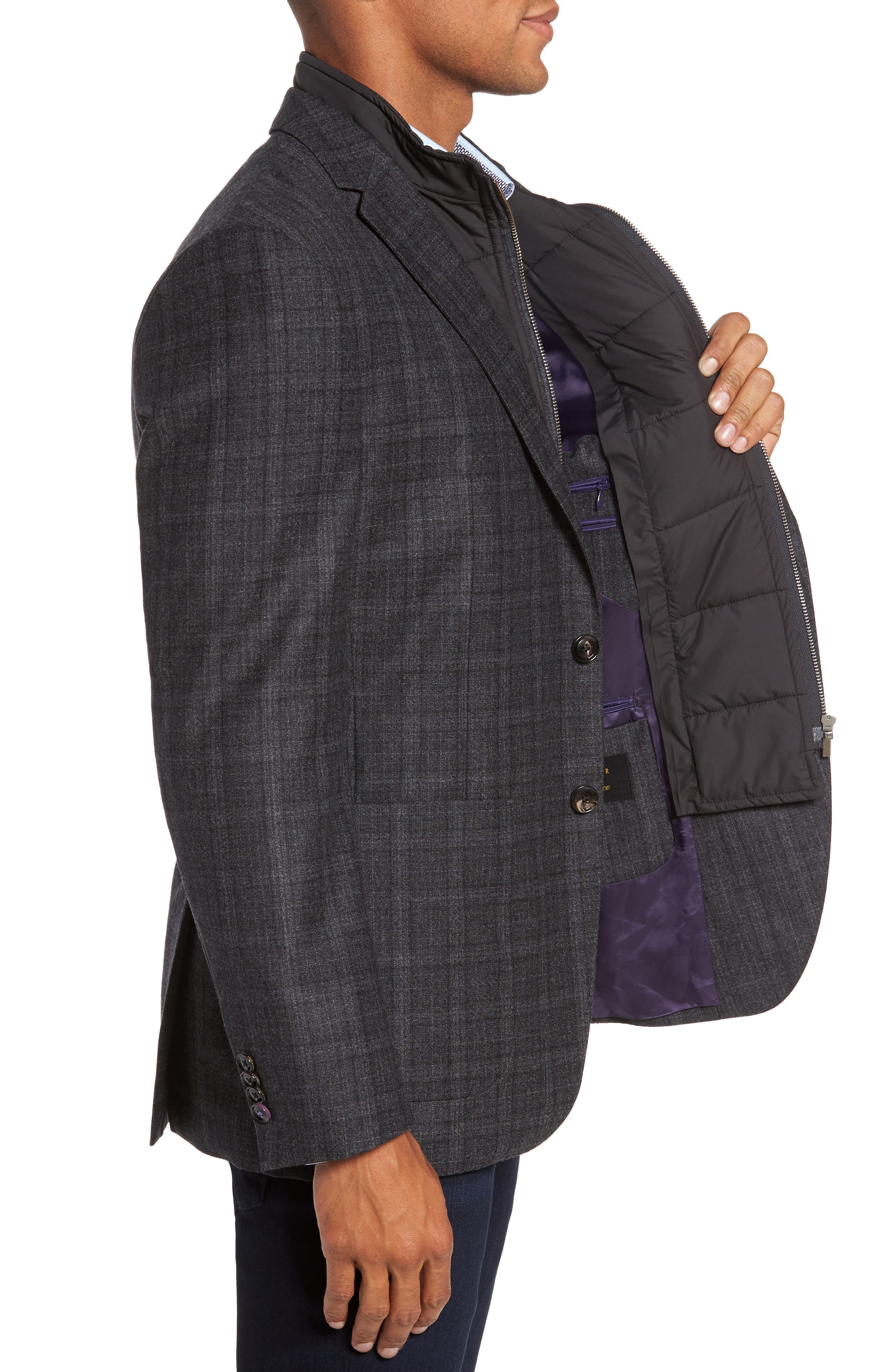 Trim Fit Plaid Wool Sport Coat,                             Alternate thumbnail 3, color,                             020